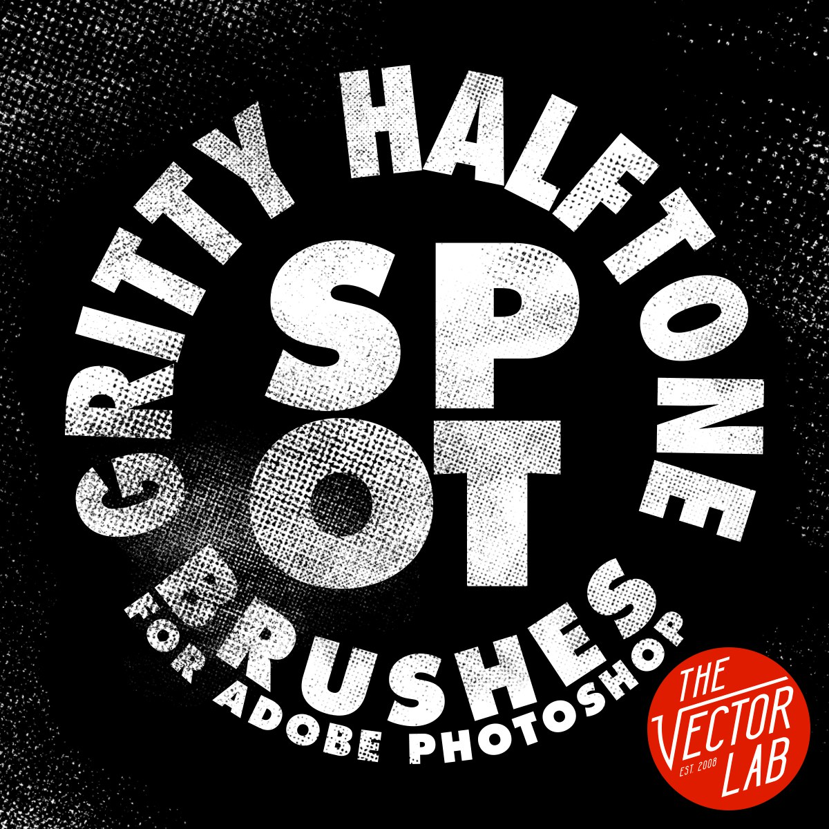 Gritty Halftone Spot Brushes for Photoshop