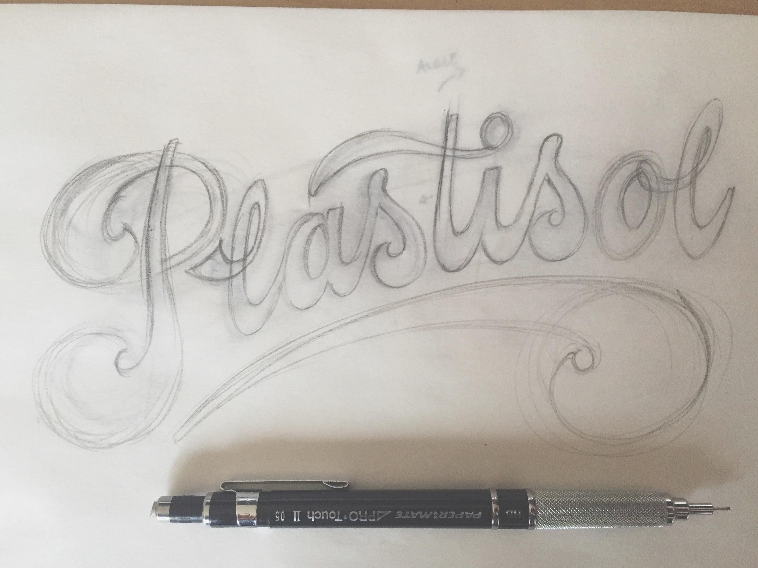 Plastisol lettering sketch