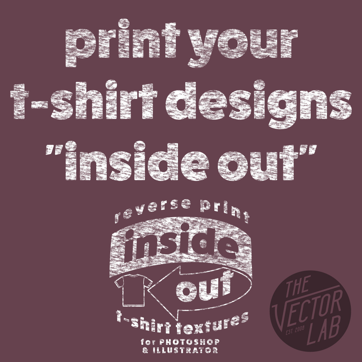 Inside Out Reverse Print T-Shirt Textures