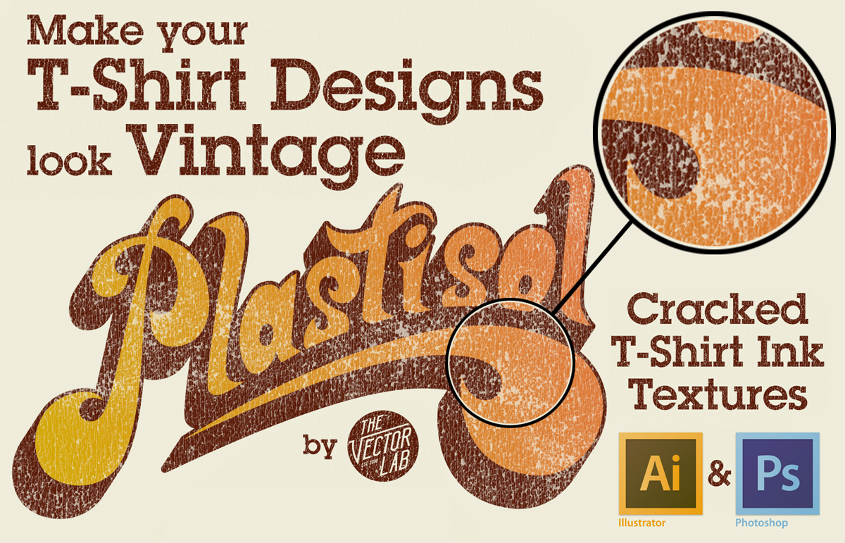 Plastisol Cracked Ink T-Shirt Textures for Photoshop and Illustrator