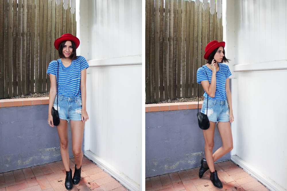 Vintage purse & hat / Shirt from SES / Shorts from Jay Jays / Boots from Rivers