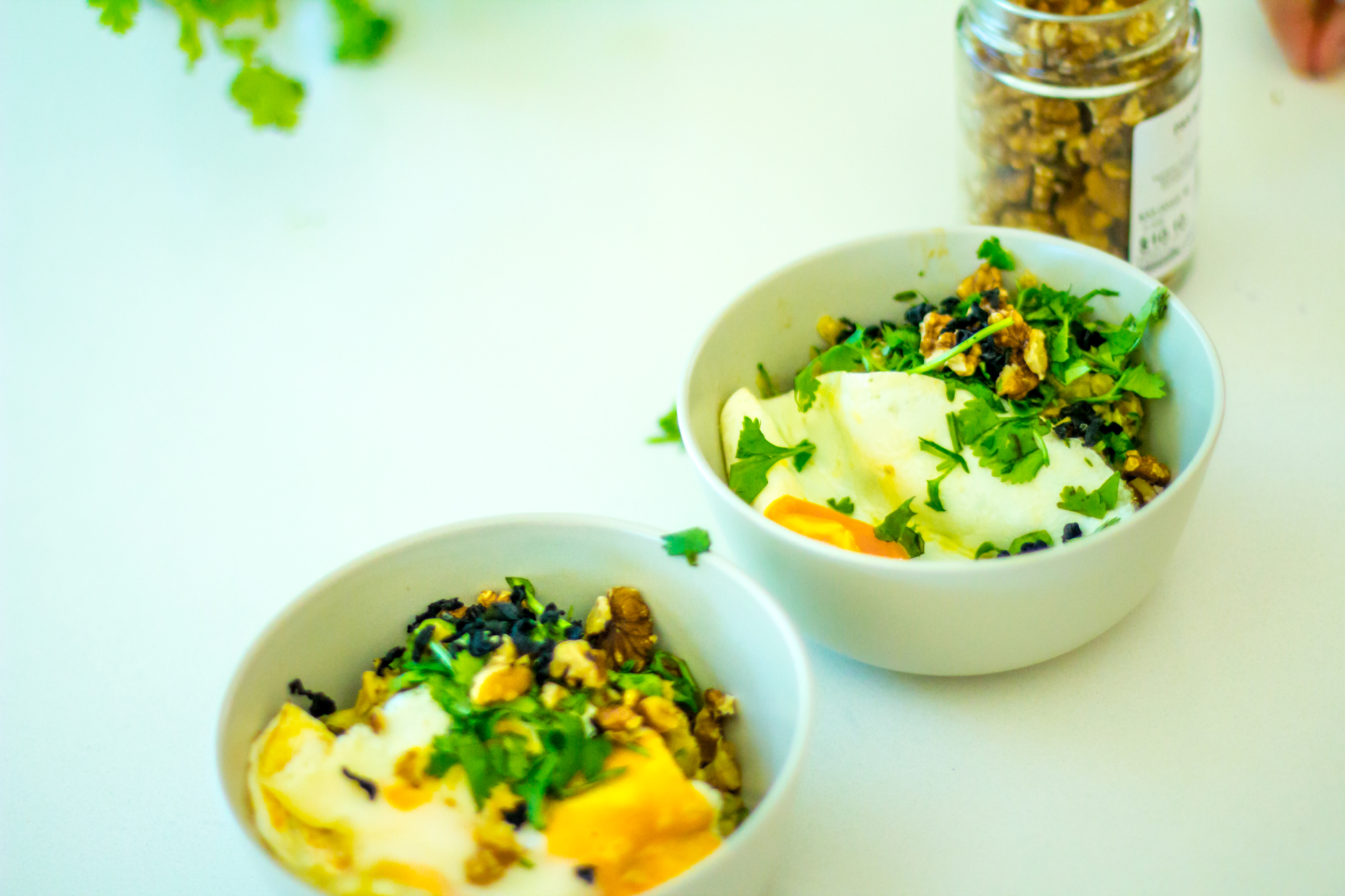 green miso porridge with eggs and walnuts