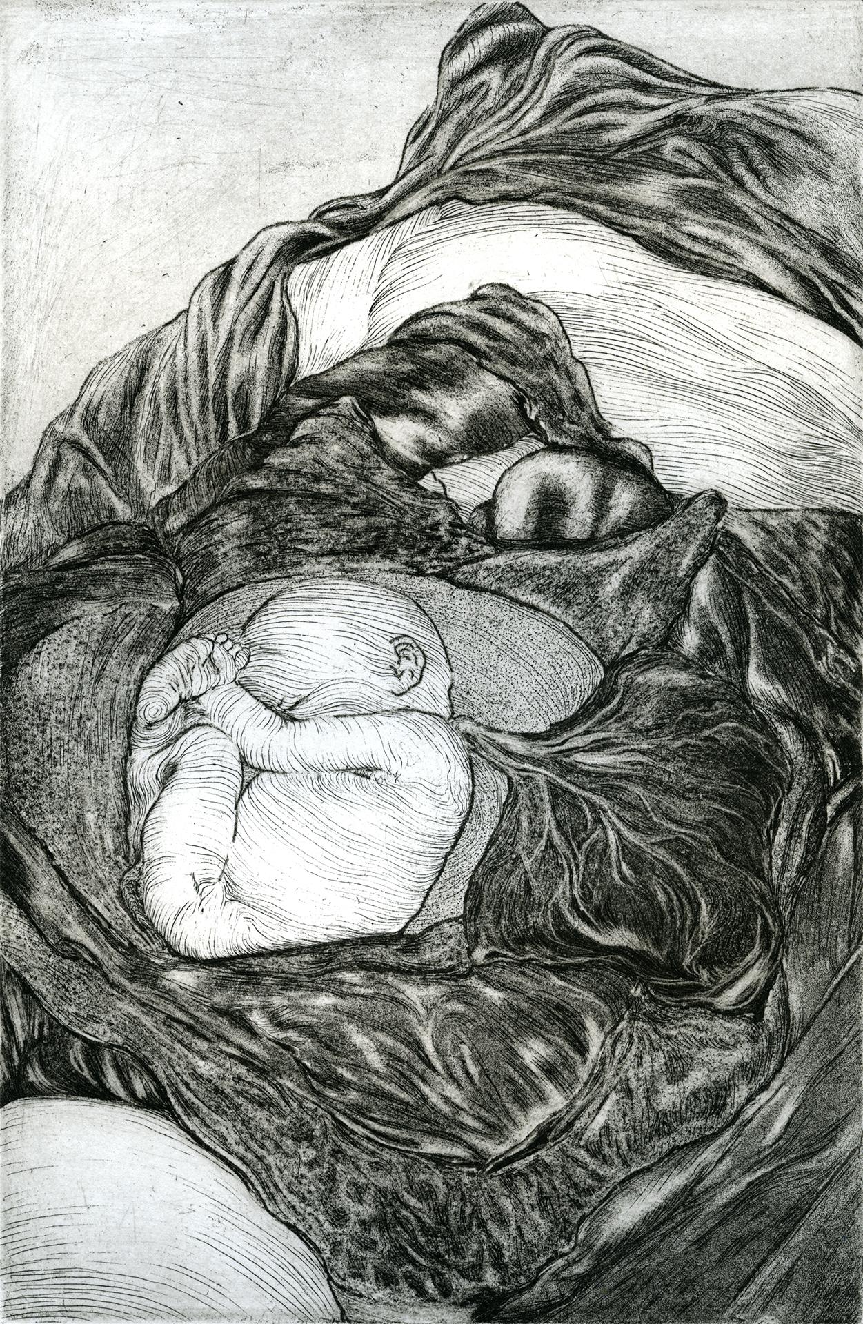 """Vegetate , 6"""" x 9"""",etching, 2014"""