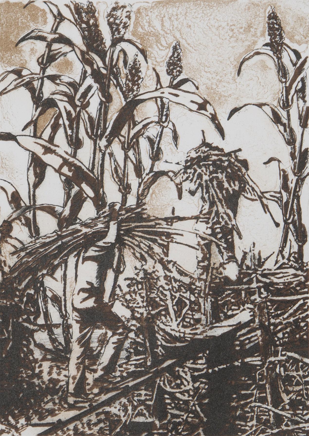 """Sakadas , 5"""" x 7"""", 3-color layer lithograph, 2014"""
