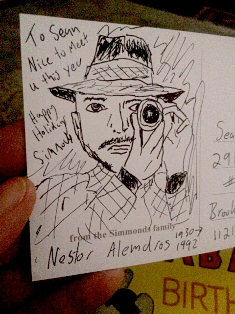 christmas card i sent to the dop sean price williams this year. its a portrait of nestor almendros by yours truly.