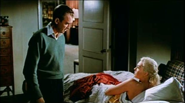 maiden trying to figure out who took of her cloths. jimmy stewart plays it very prevy.