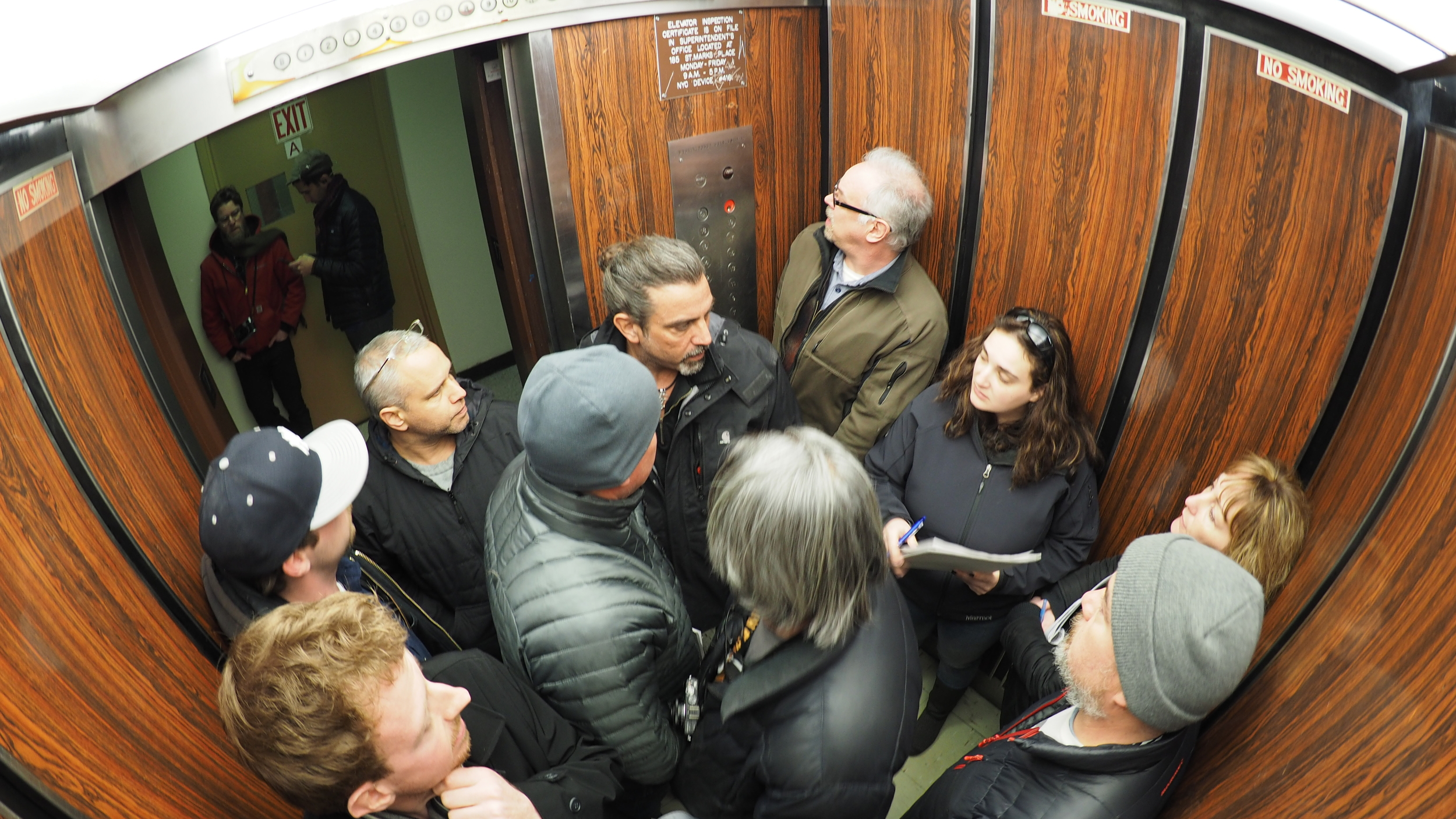 "tech scouting on NERVE.  key grip (in the doorway) dave stern is probably thinking, ""can the hybrid dolly even fit in this elevator, can't we just use a slider?"""