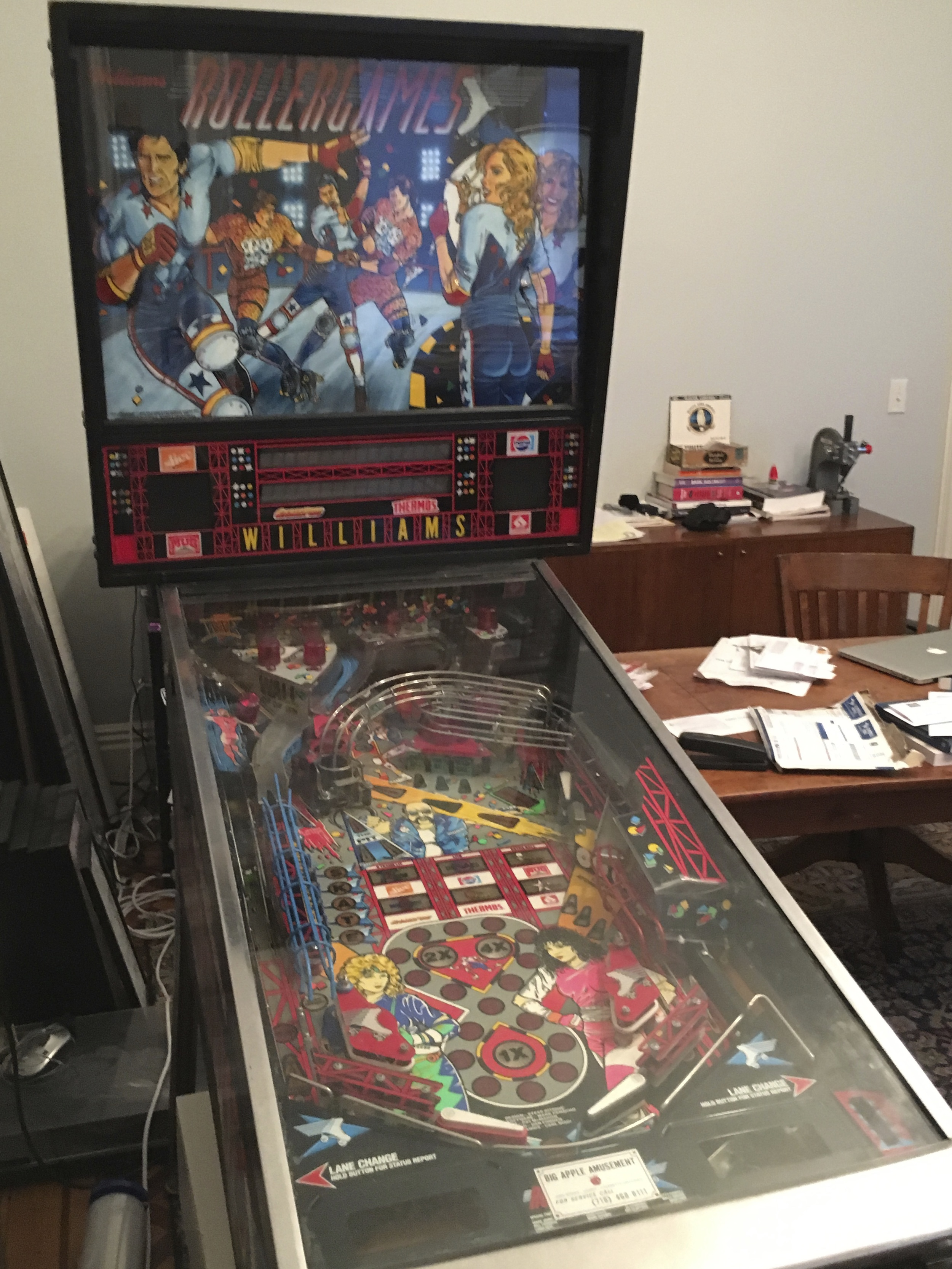 "finally get ""roller games"" to work properly.  a pinball machine takes a lot of space, but a non working one take up even more."
