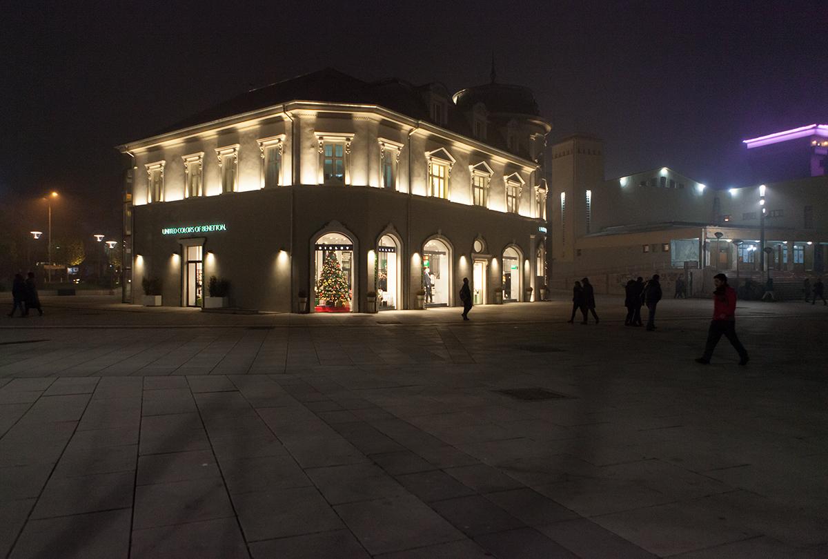 The Restored Hotel Union, United Colors of Benetton Megastore , Prishtina Kosovo, alketamisja photography, december 2015
