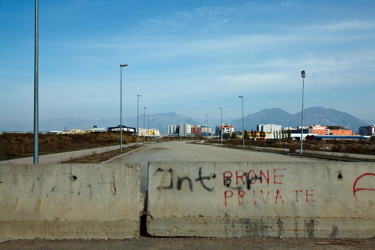 """Tirana, """"Private Property"""" graffiti on the road, 2011"""