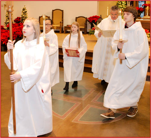 """Saint John Paul II, speaking to Altar Servers on August 1, 2001 said:  """"The Altar Server has a privileged place in liturgical celebrations."""" They experience from close at hand that Jesus Christ is present and active in every liturgy………. Jesus is present above all in the Eucharist, under the appearances of bread & wine.""""  Training is scheduled for Sunday, February 14, through February 28, immediately following the 11:00 a.m. Mass.  No matter how busy & active you are, we are obliged and privileged to worship at Mass every weekend and holy day.  WHY NOT PARTICIPATE EVEN MORE FULLY AND SERVE MASS?  Please contact the Parish Office at 724-335-2336 to register.  This will be the only Altar Server Training Class conducted in 2016."""
