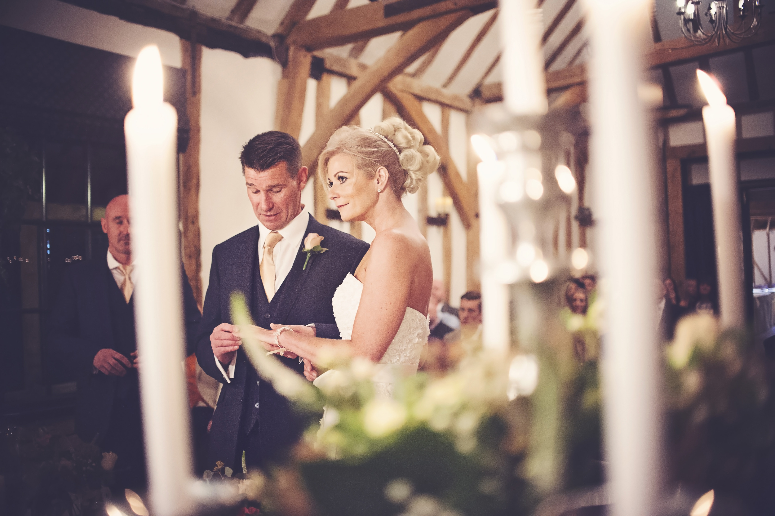 Three Flowers Photography Essex Barn Wedding Candlelit ceremony