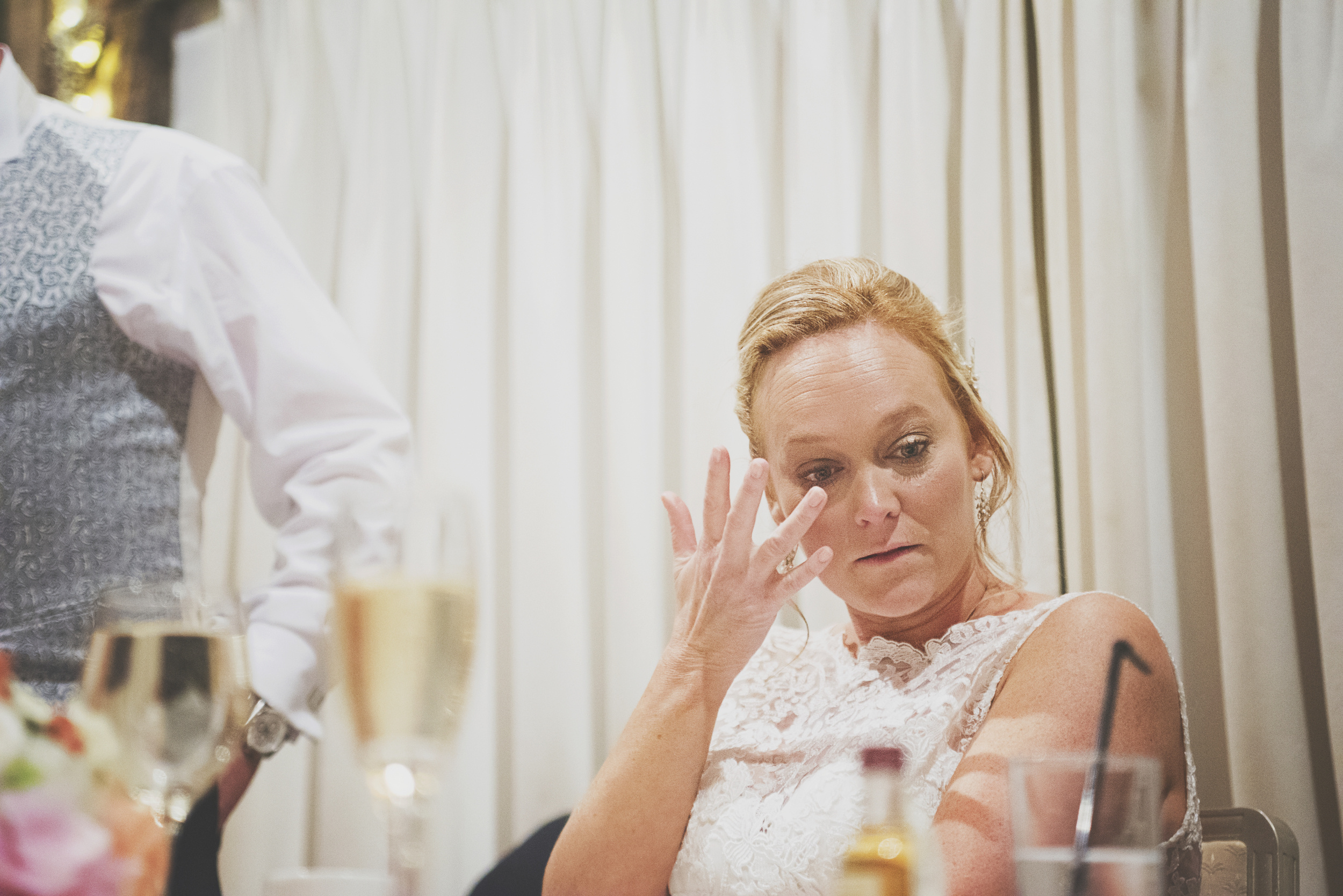 Three Flowers Photography Maidens Barn Essex Wedding Crying Bride Speeches