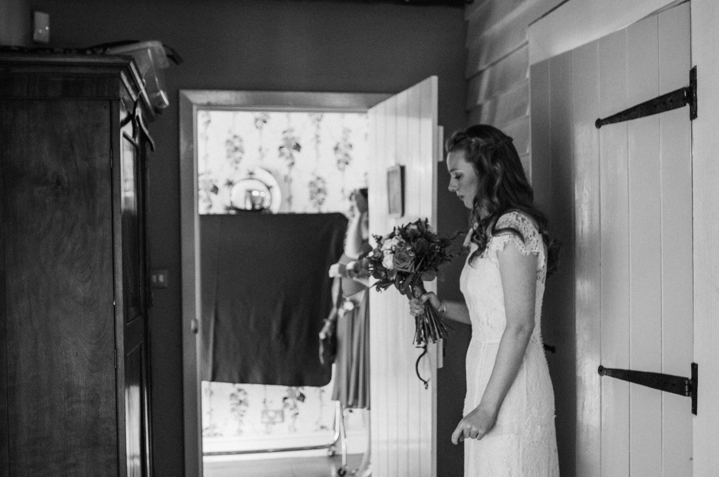 Emotional Bride before Ceremony Mexican Cliff Barns Norfolk Essex UK Documentary Wedding Photographer