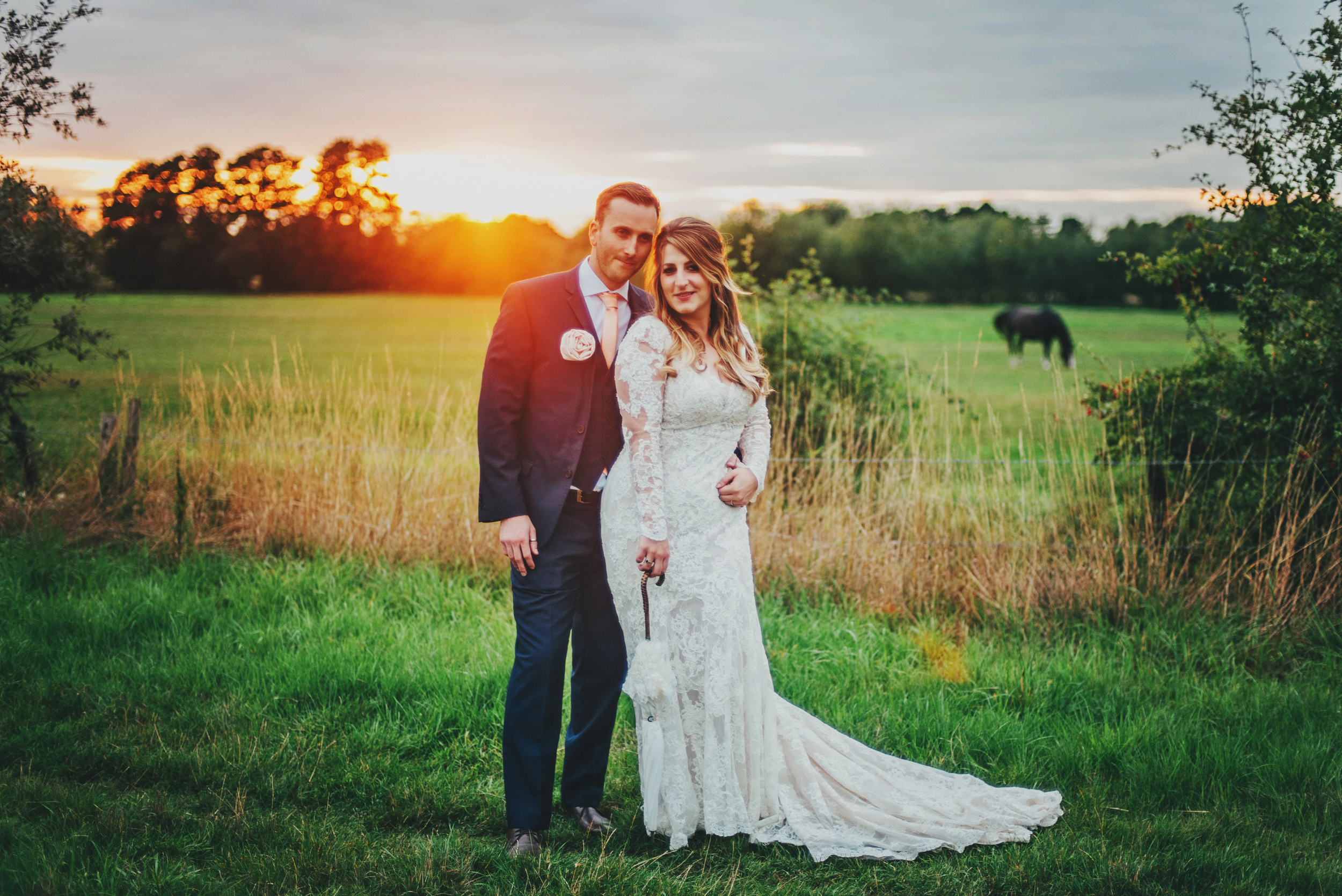Rustic Bride Groom Sunset Essex UK Documentary Wedding Photographer