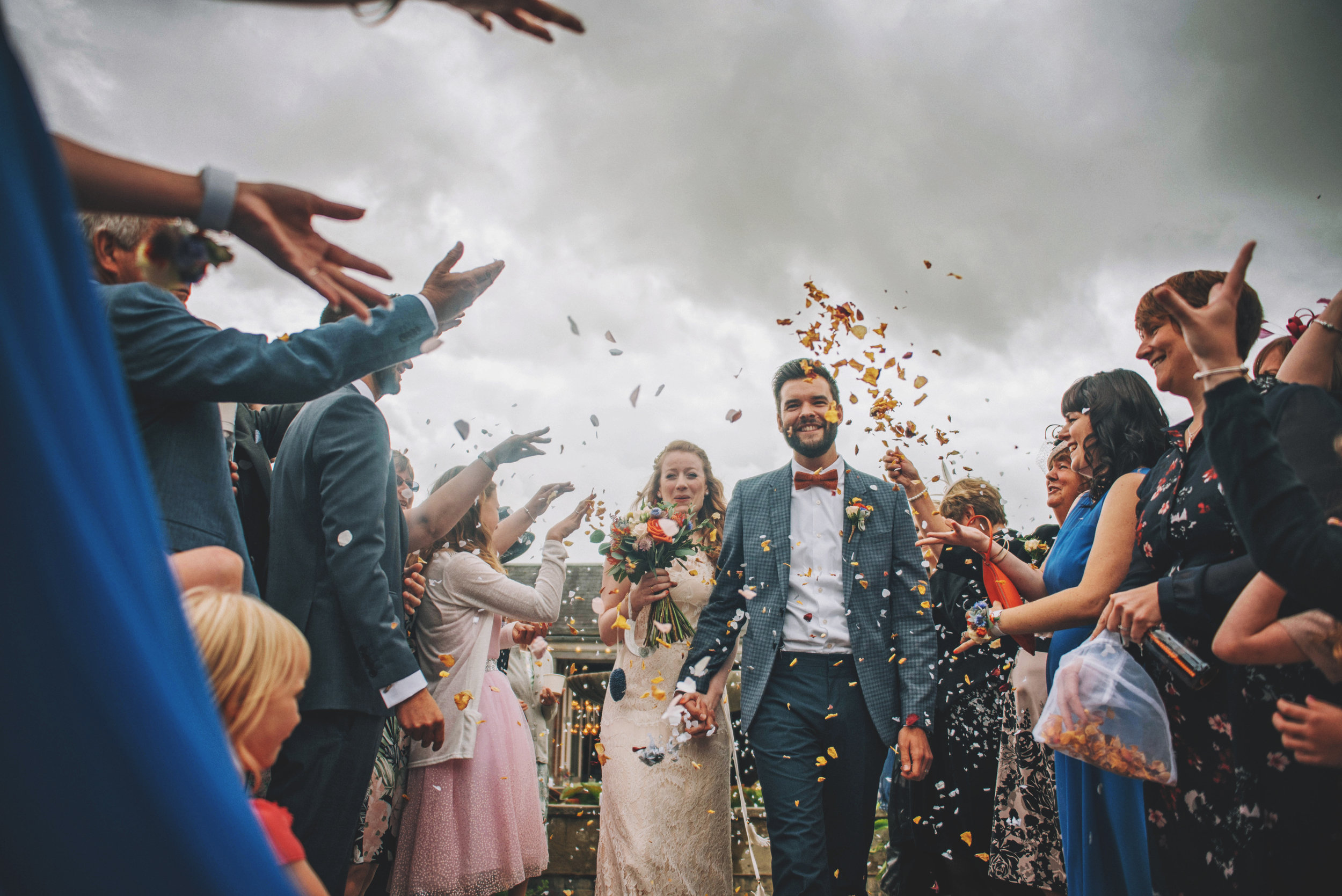 Mexican Bow Tie Braces Confetti Cliff Barns Norfolk Essex UK Documentary Wedding Photographer
