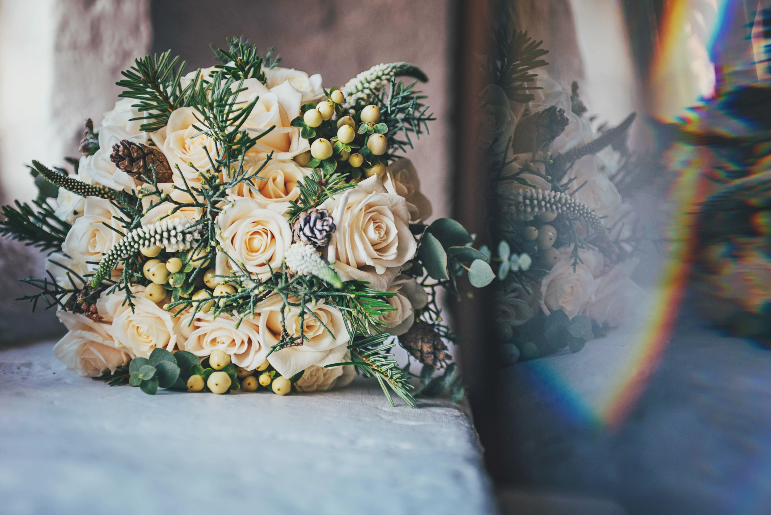 Winter bouquet Leez Priory Christmas Essex UK Documentary Wedding Photographer