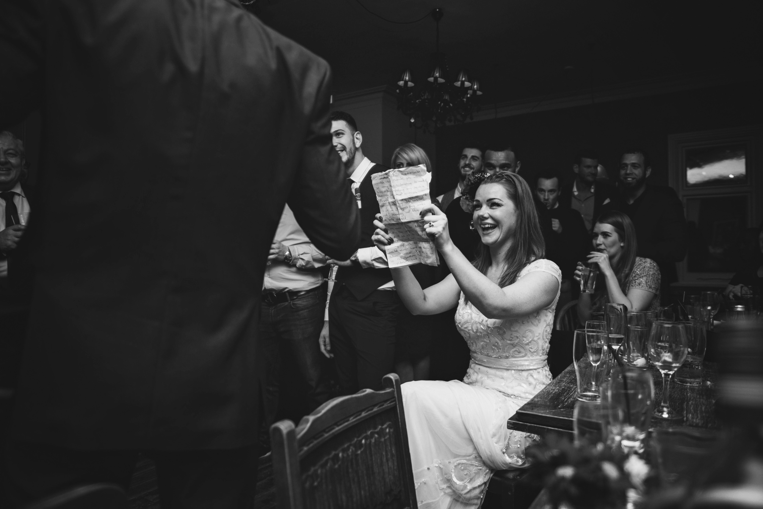 Bride speeches Vintage Christmas London Pub Wedding Essex UK Documentary Wedding Photographer