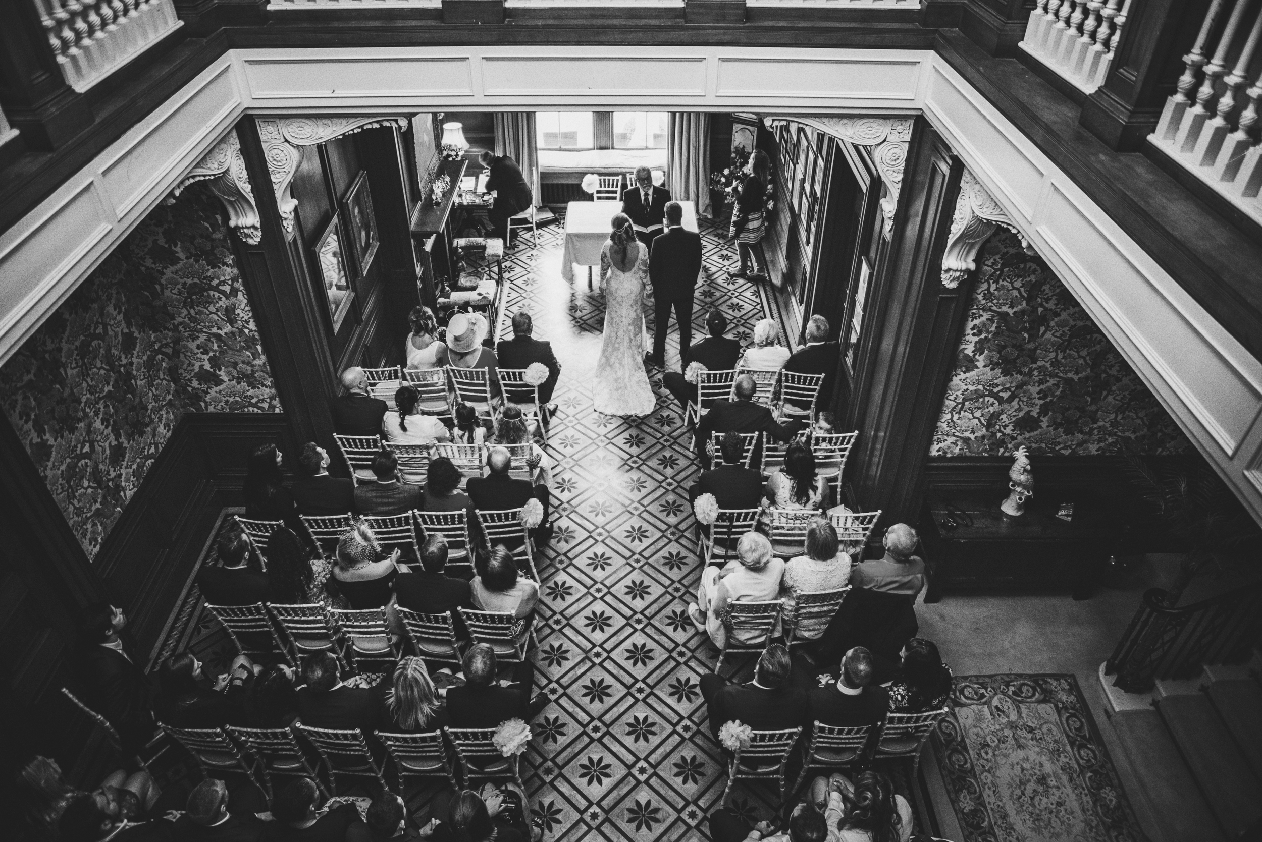 View from above Ceremony Rustic Essex UK Documentary Wedding Photographer
