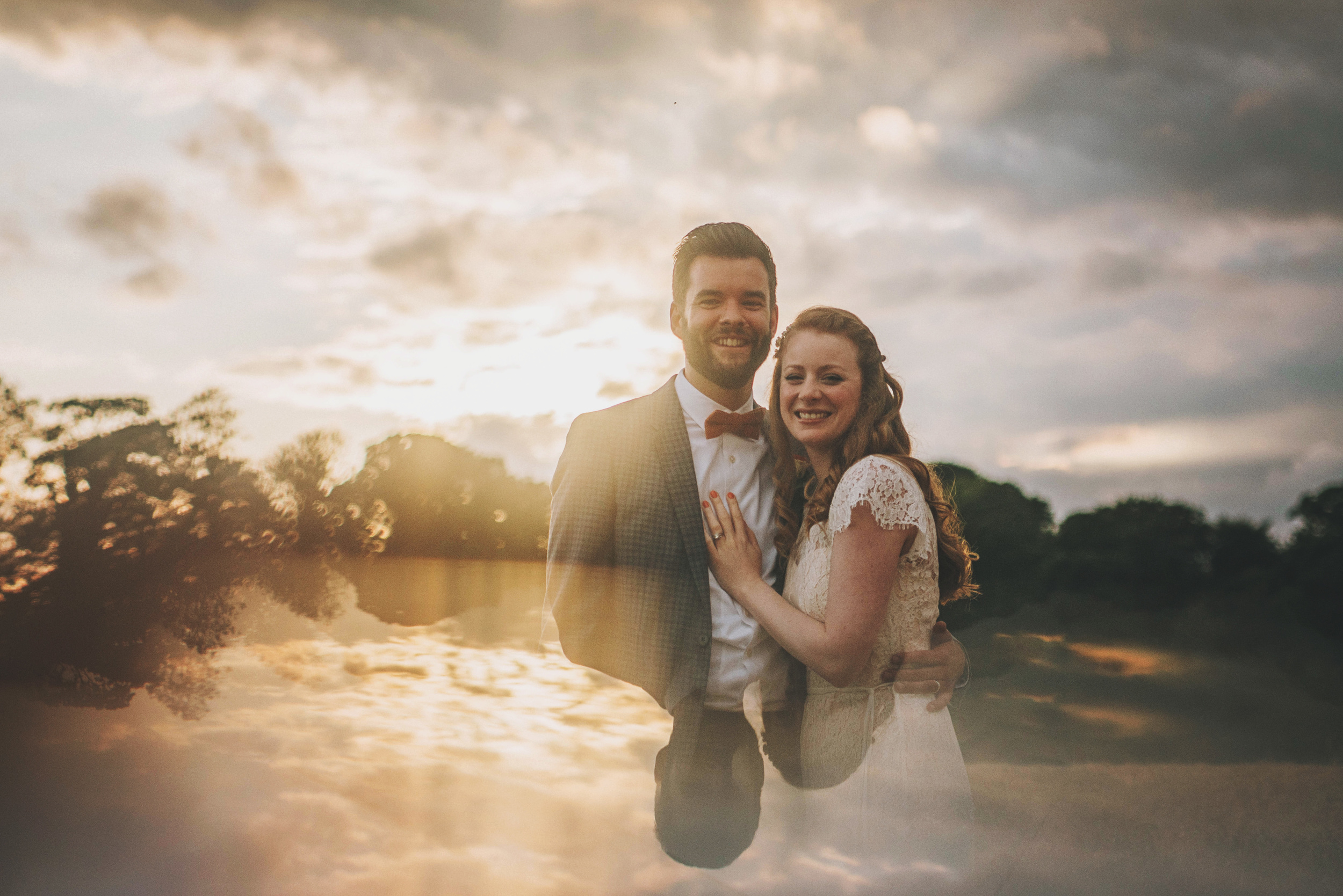 Bride Groom Bow tie Braces Cliff Barns Norfolk sunset Essex UK Documentary Wedding Photographer