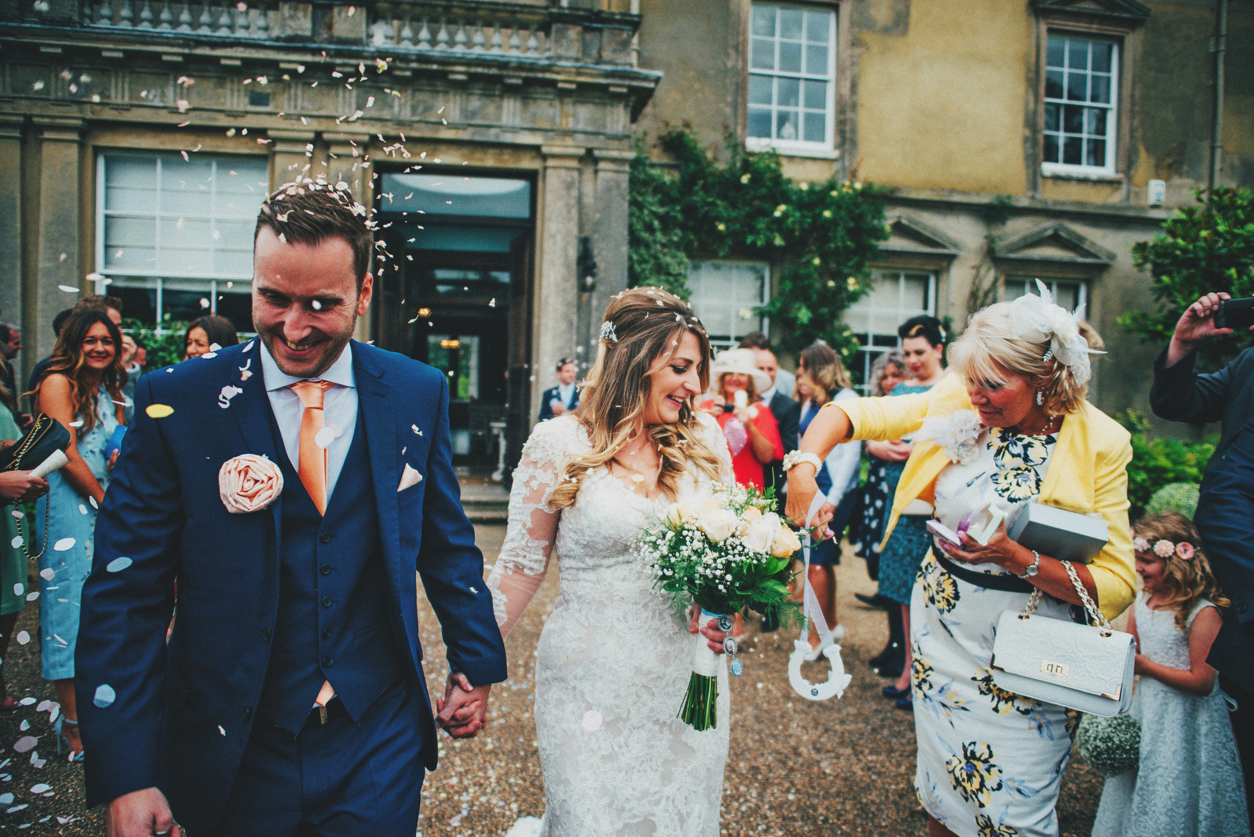 Bride Groom Confetti Rustic Essex UK Documentary Essex Wedding Photographer