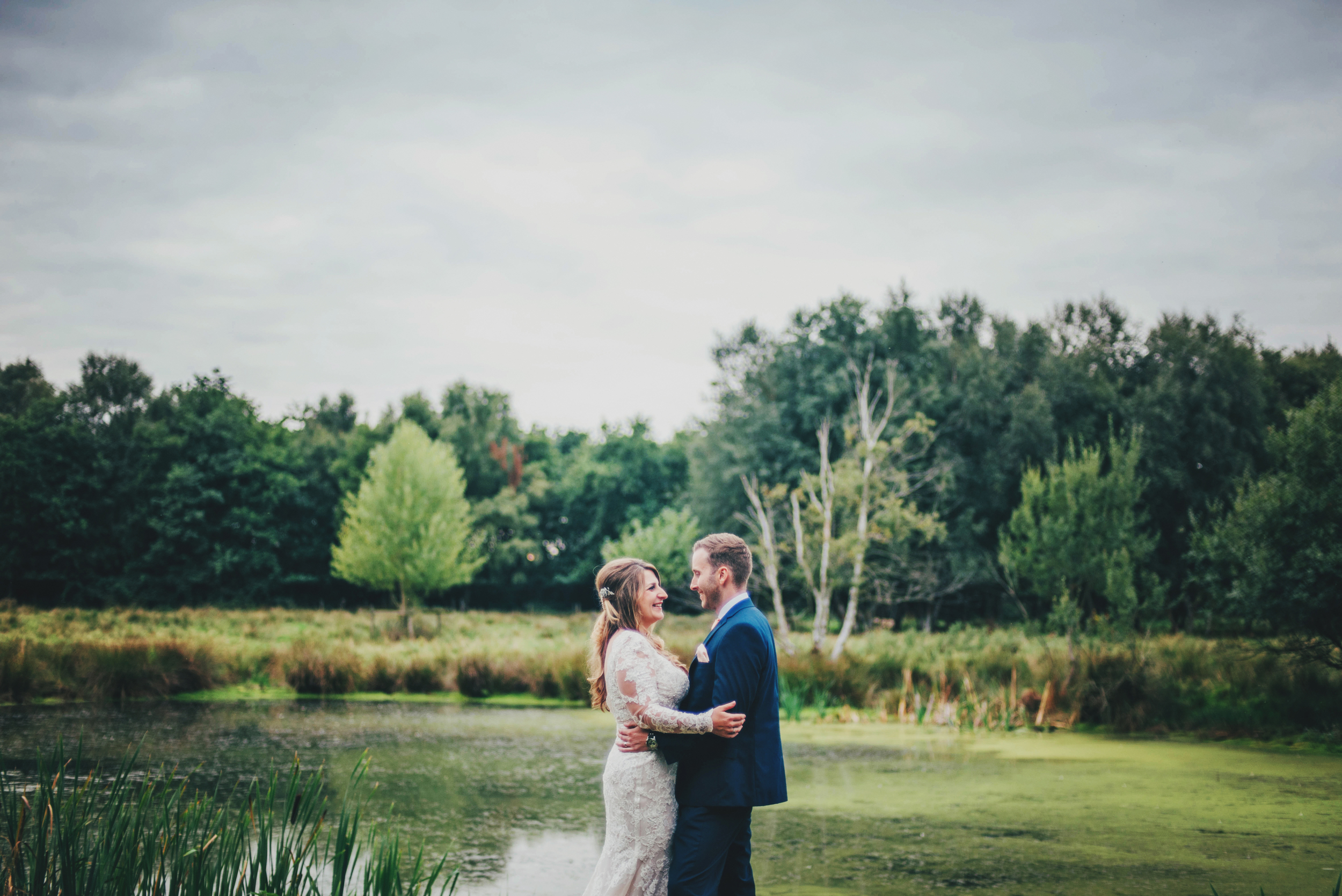 Bride Groom Lake Rustic Essex UK Documentary Wedding Photographer