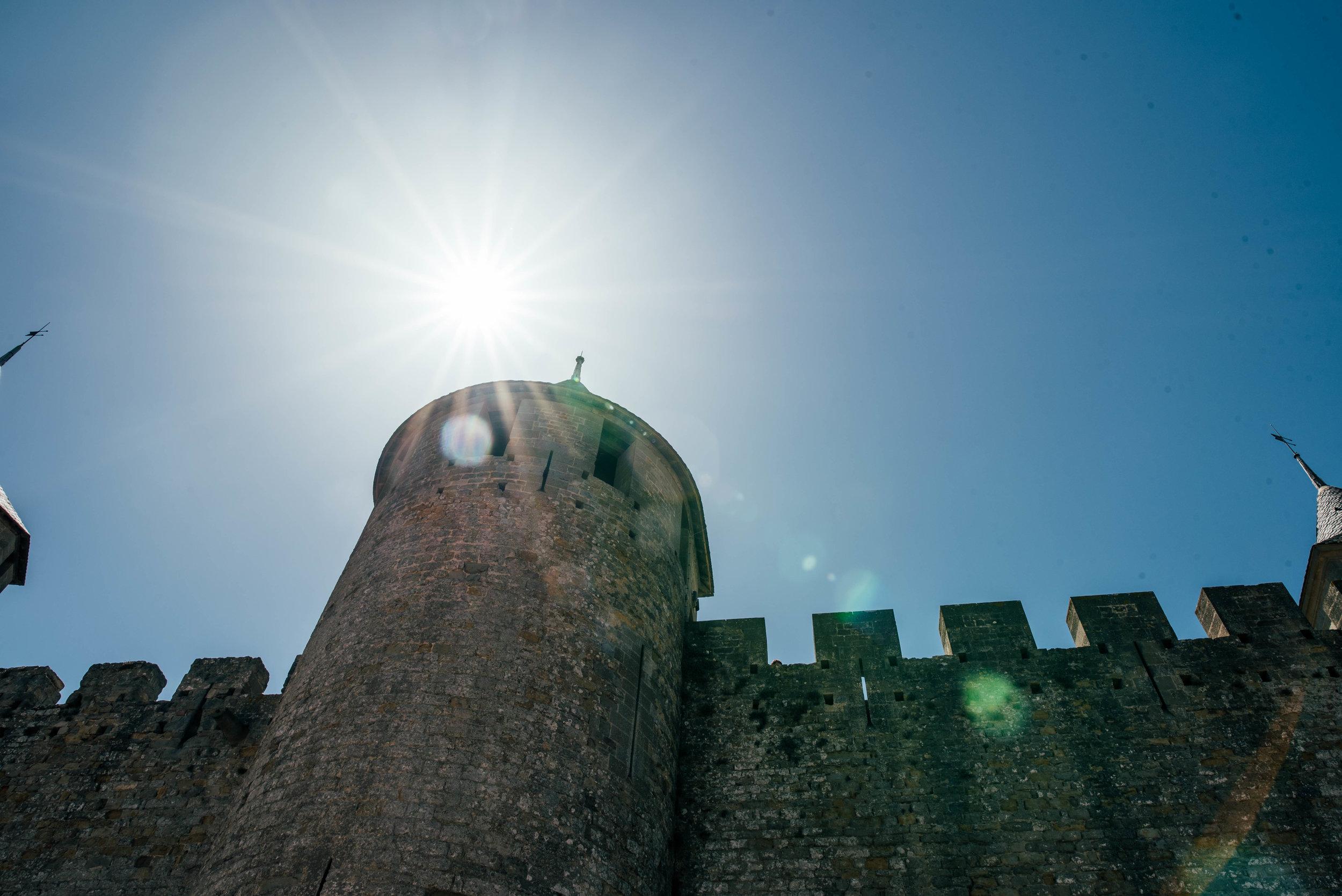 Sun over Citadel Carcassonne France Essex UK Documentary Photographer