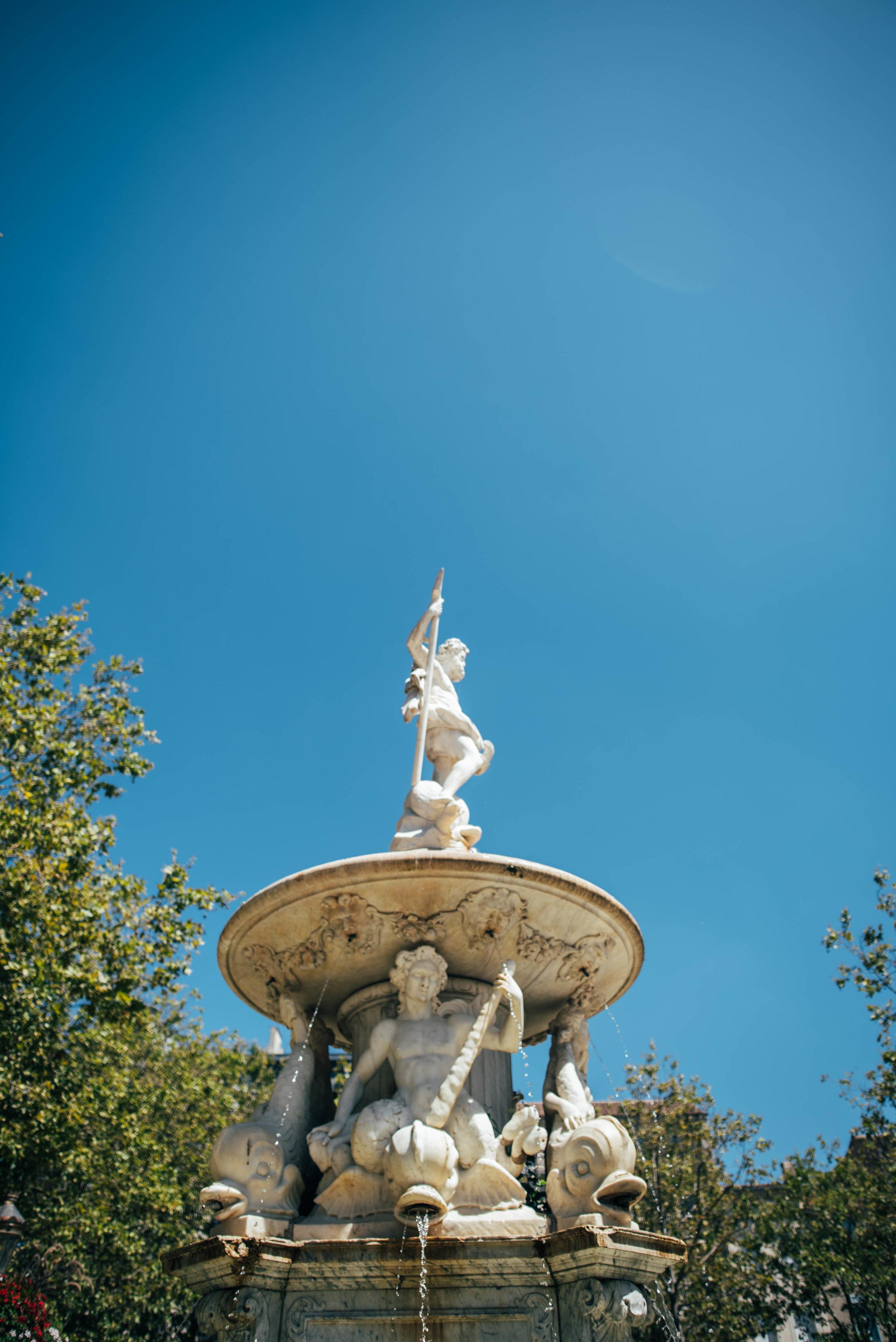 La Fontaine de Neptune Carcassonne France Essex UK Documentary Photographer