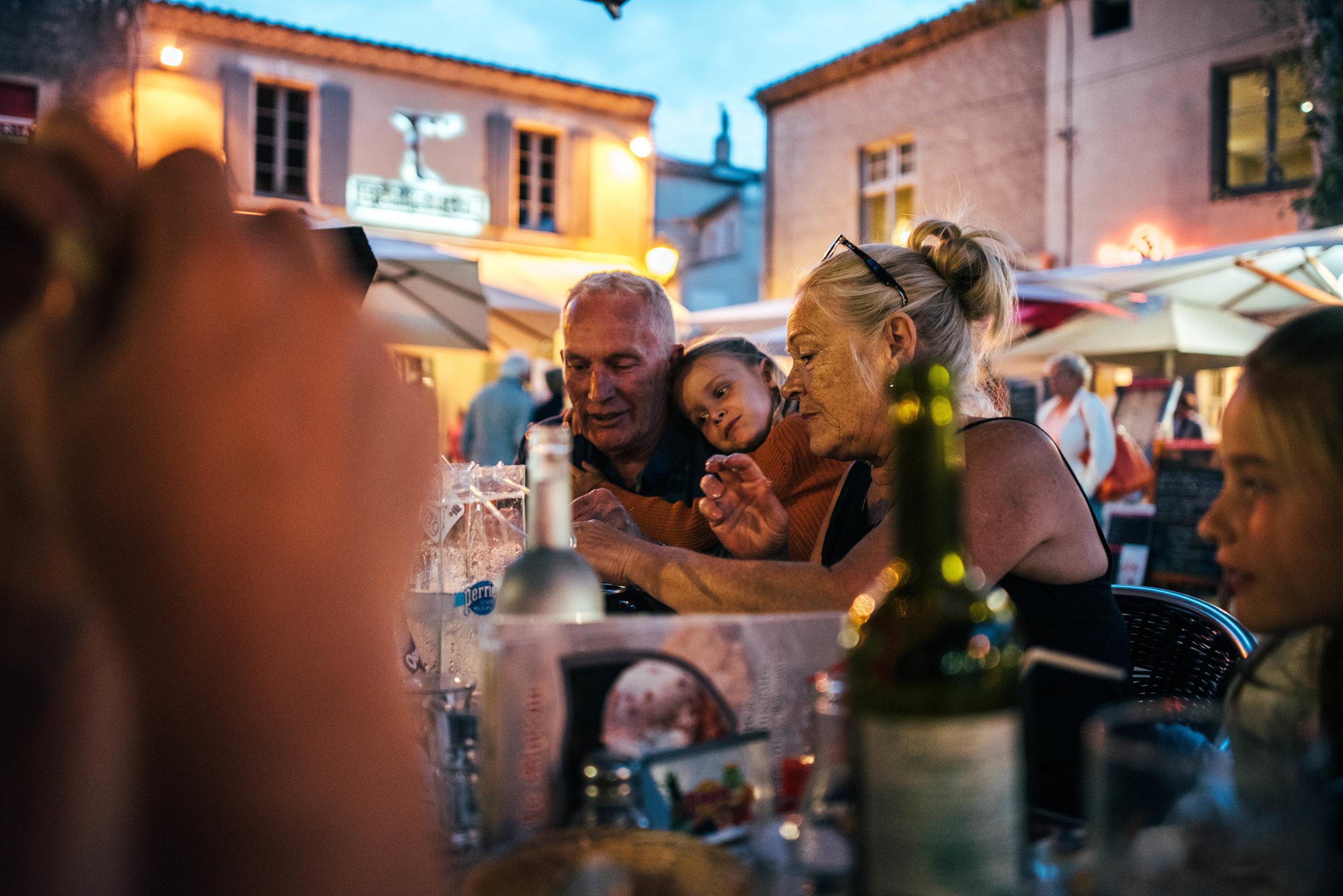 Family eat dinner at Carcassonne Citadel Essex UK Documentary Photographer