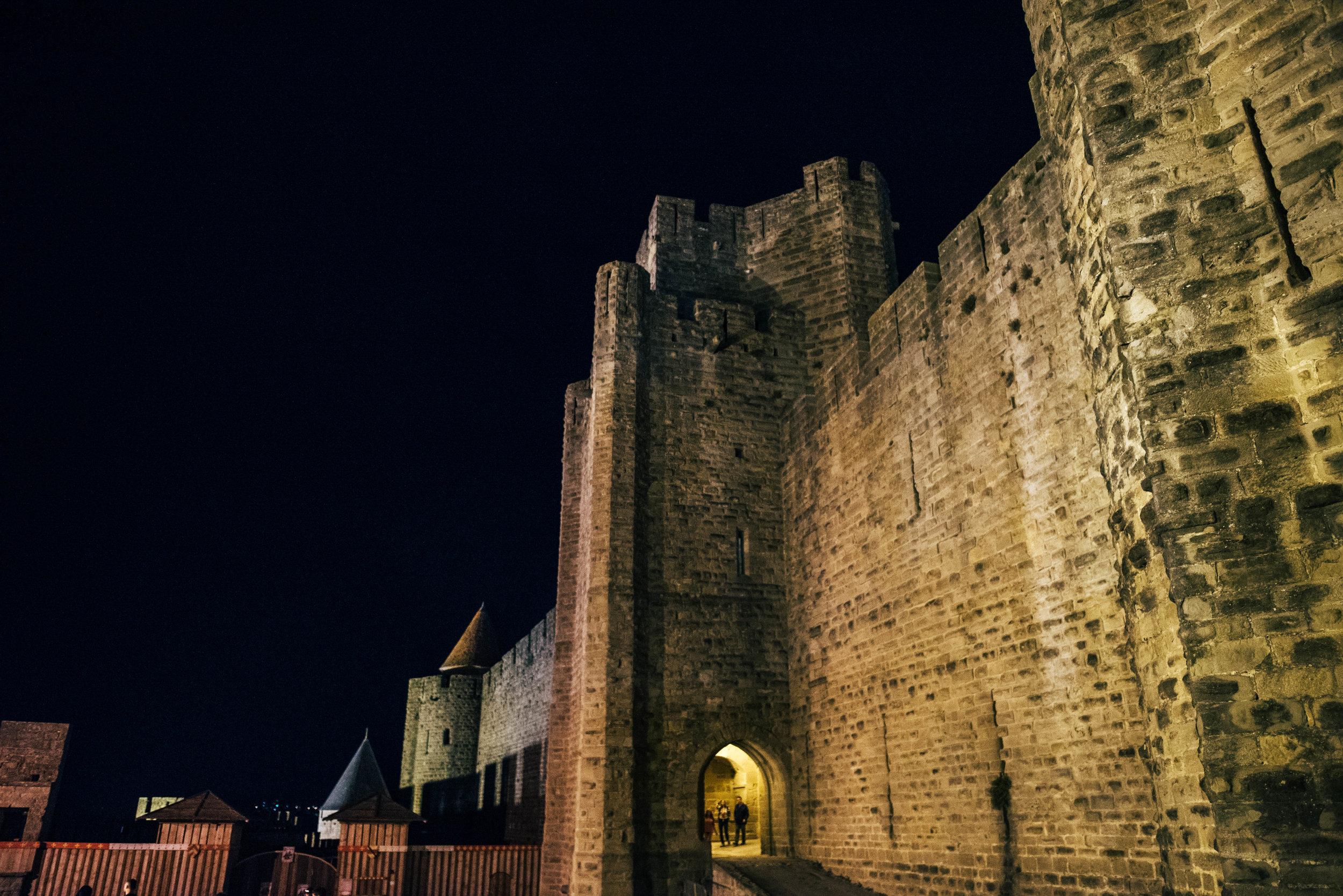 Citadel Carcassonne at night Essex UK Documentary Photographer
