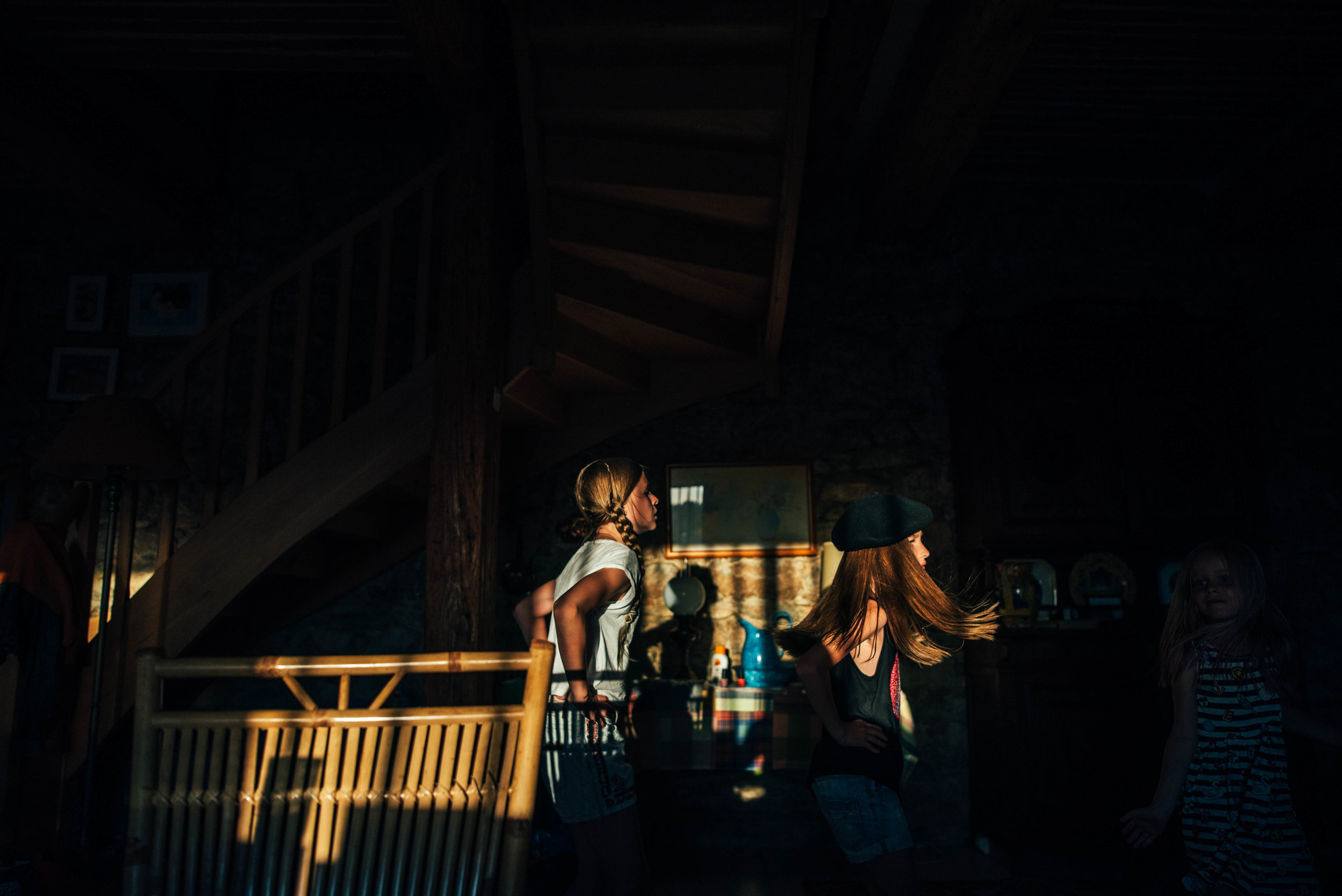Young girls dance in shadows Essex UK Documentary Portrait Photographer