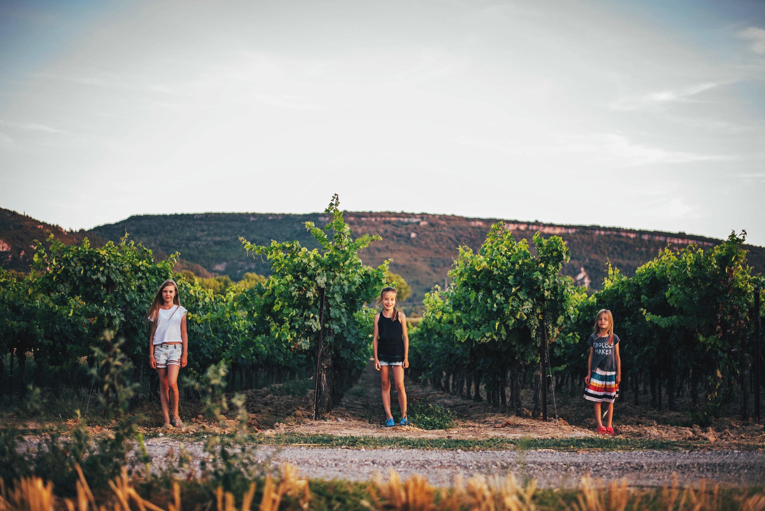 Three girls in vineyard Essex UK Documentary Portrait Photographer