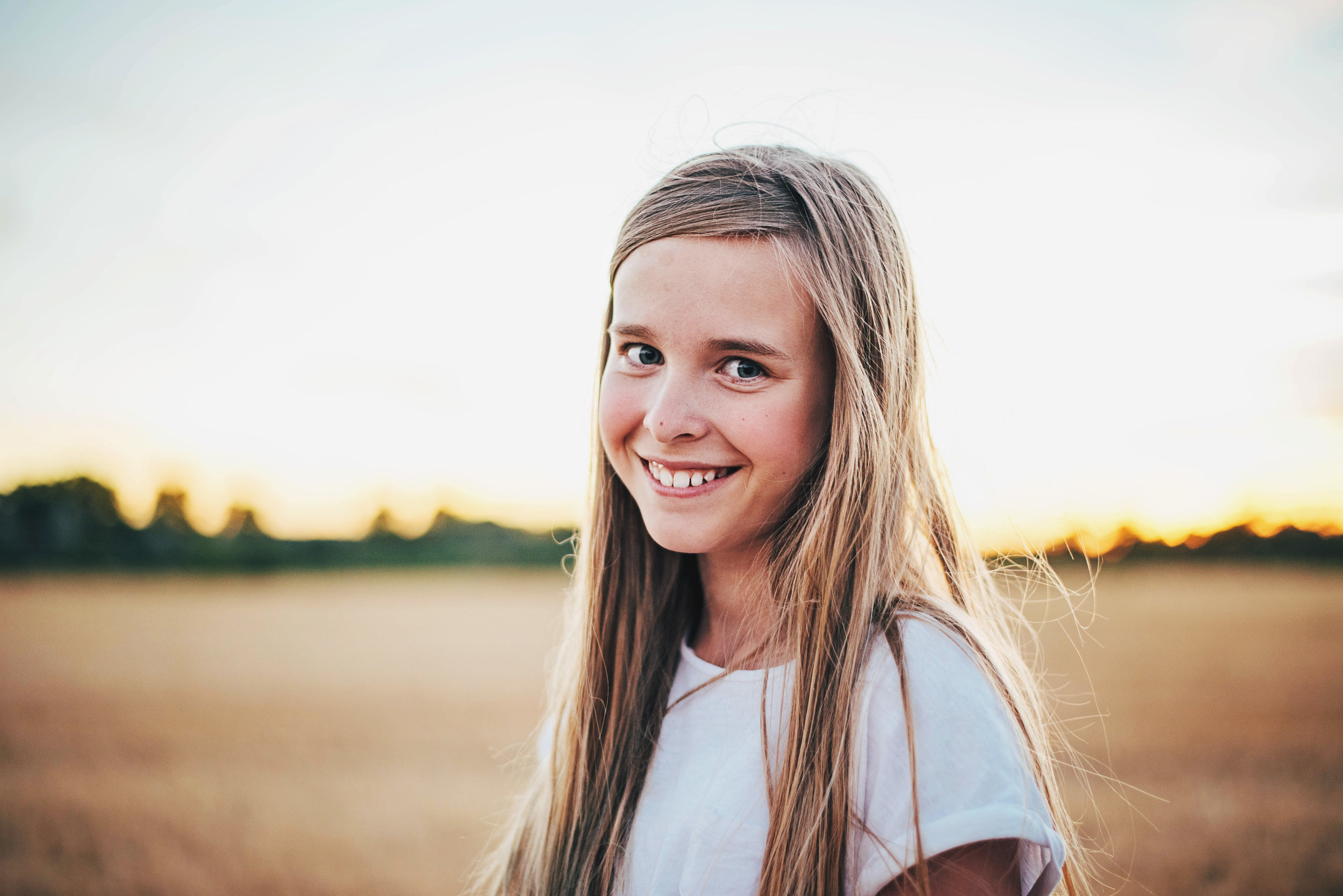 Young girl at sunset Essex UK Documentary Portrait Photographer