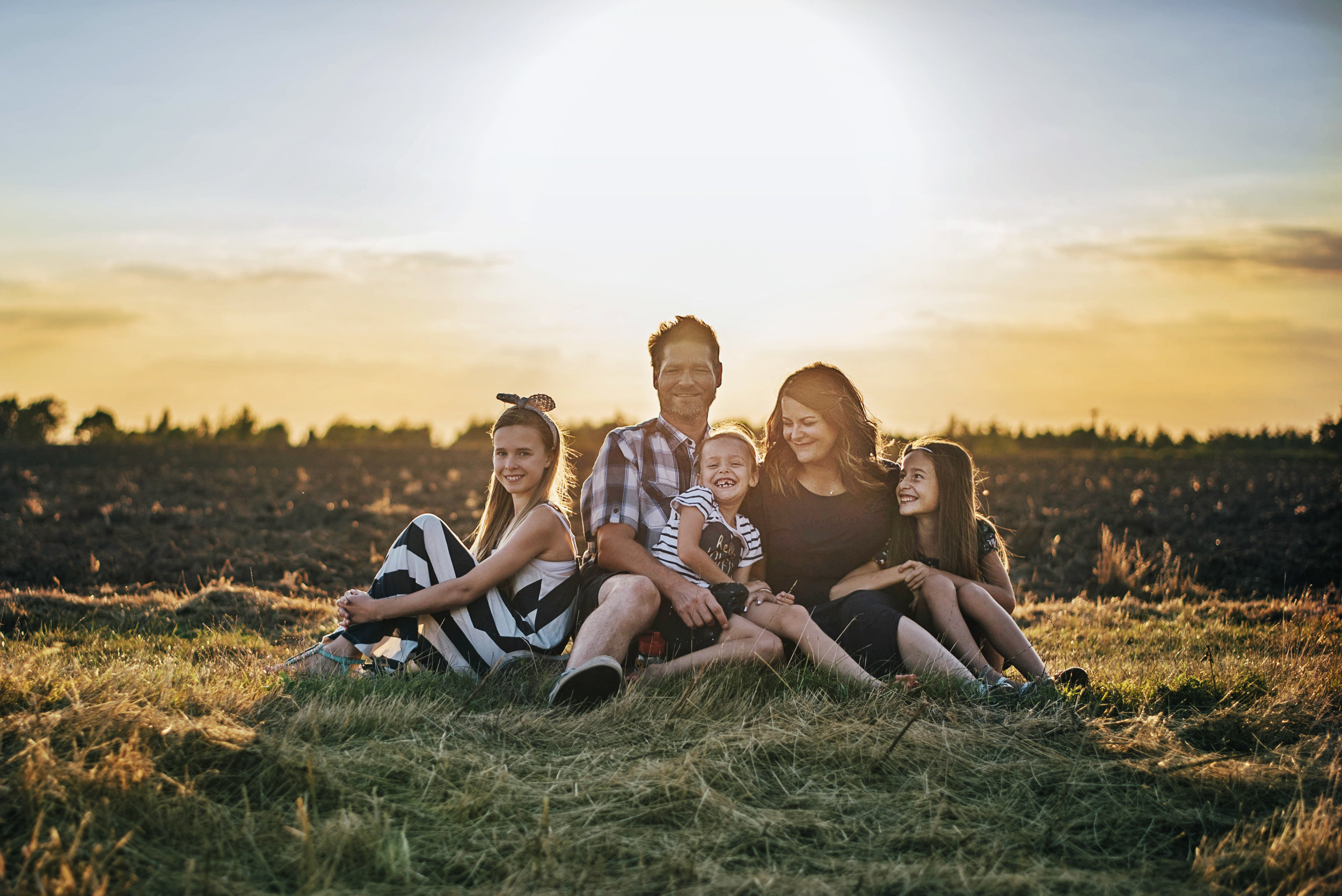 Family Sunset Golden Hour Summer Portrait Essex UK Documentary Portrait Photographer