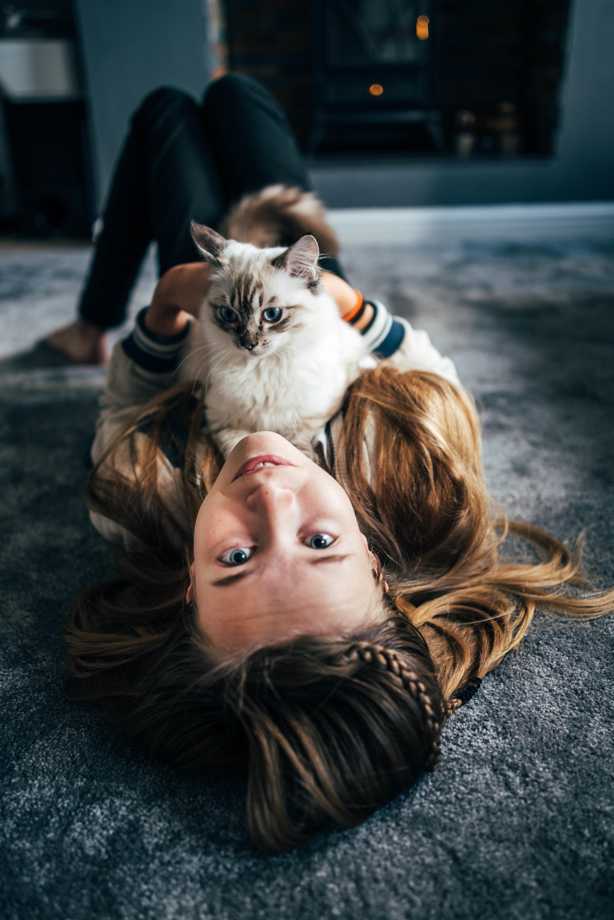 Girl holds Ragdoll Kitten Essex UK Documentary Portrait Photographer