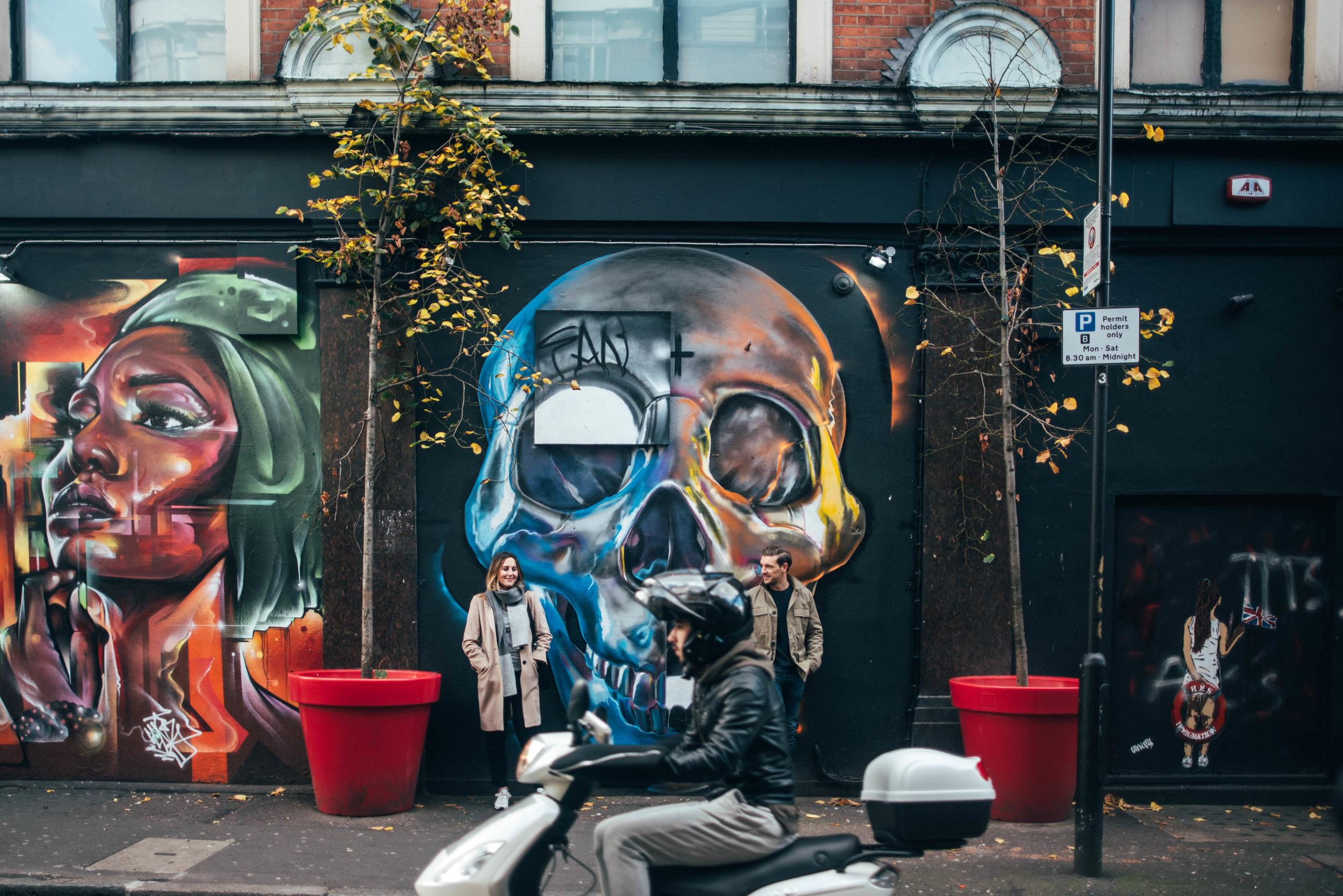 Urban Shoreditch Love Shoot Modern Couple Skull Graffiti Essex UK Documentary Wedding Photographer