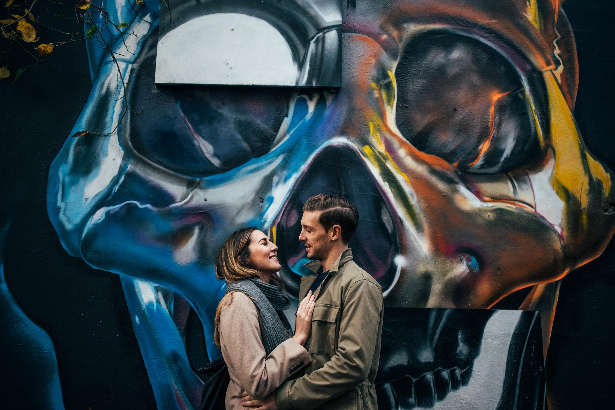 Urban Shoreditch Skull Graffiti Love Shoot Modern Couple Essex UK Documentary Wedding Photographer