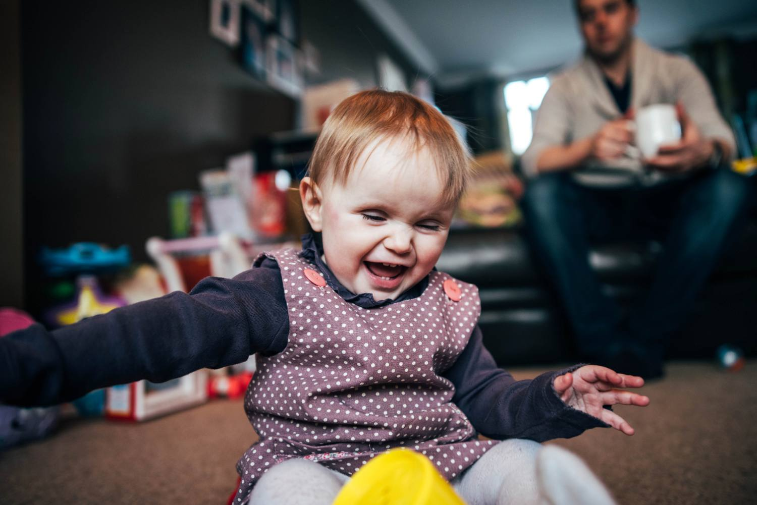 Baby girls 1st birthday at home lifestyle session. Essex UK Documentary Photographer.