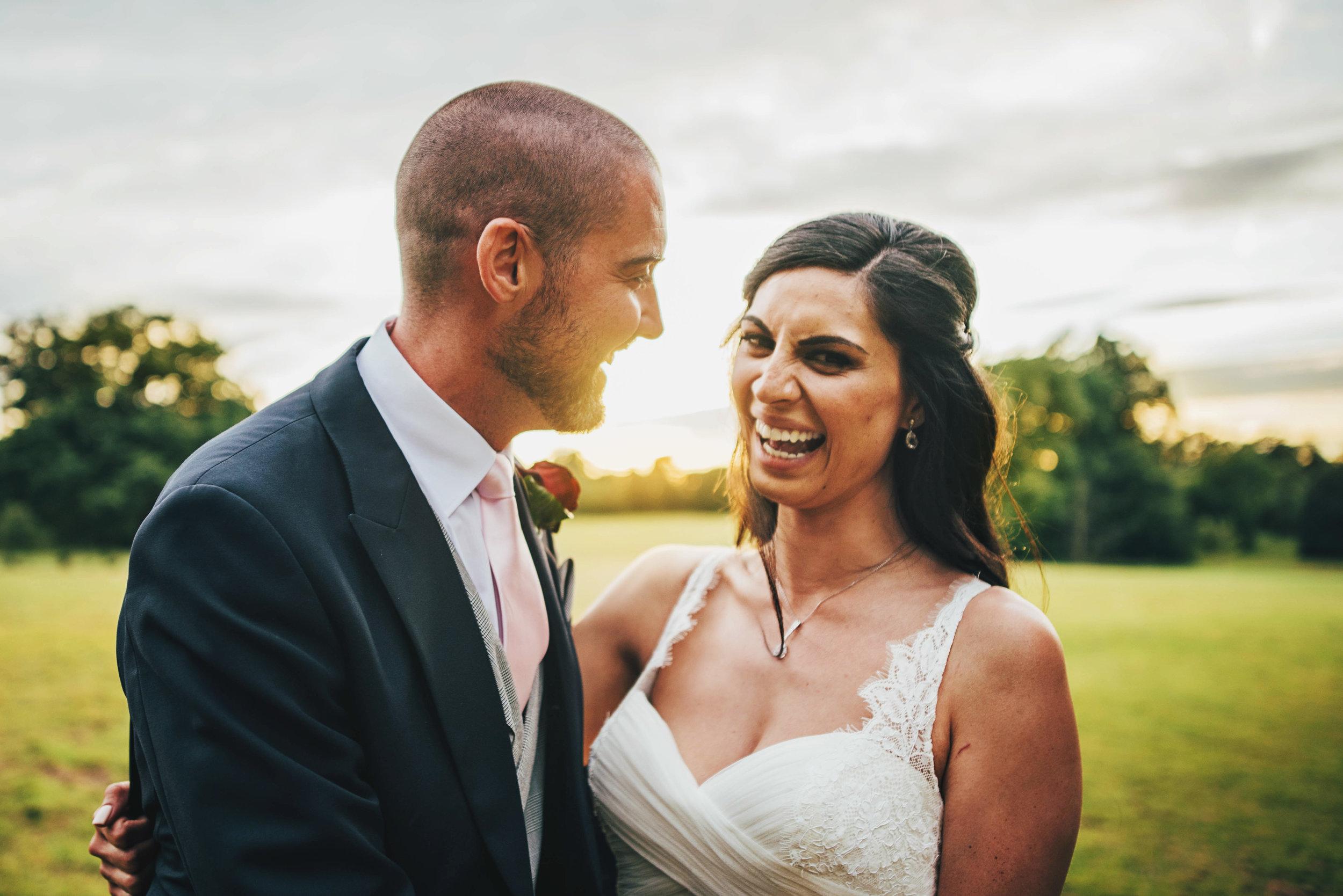 Bride and Groom Sunset Hylands House Essex Documentary Wedding Photographer