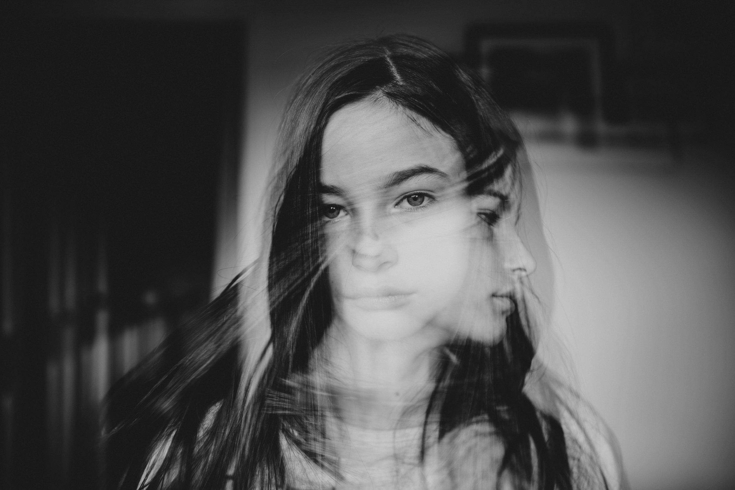 Double exposure of tween girl Essex UK Documentary Portrait Photographer