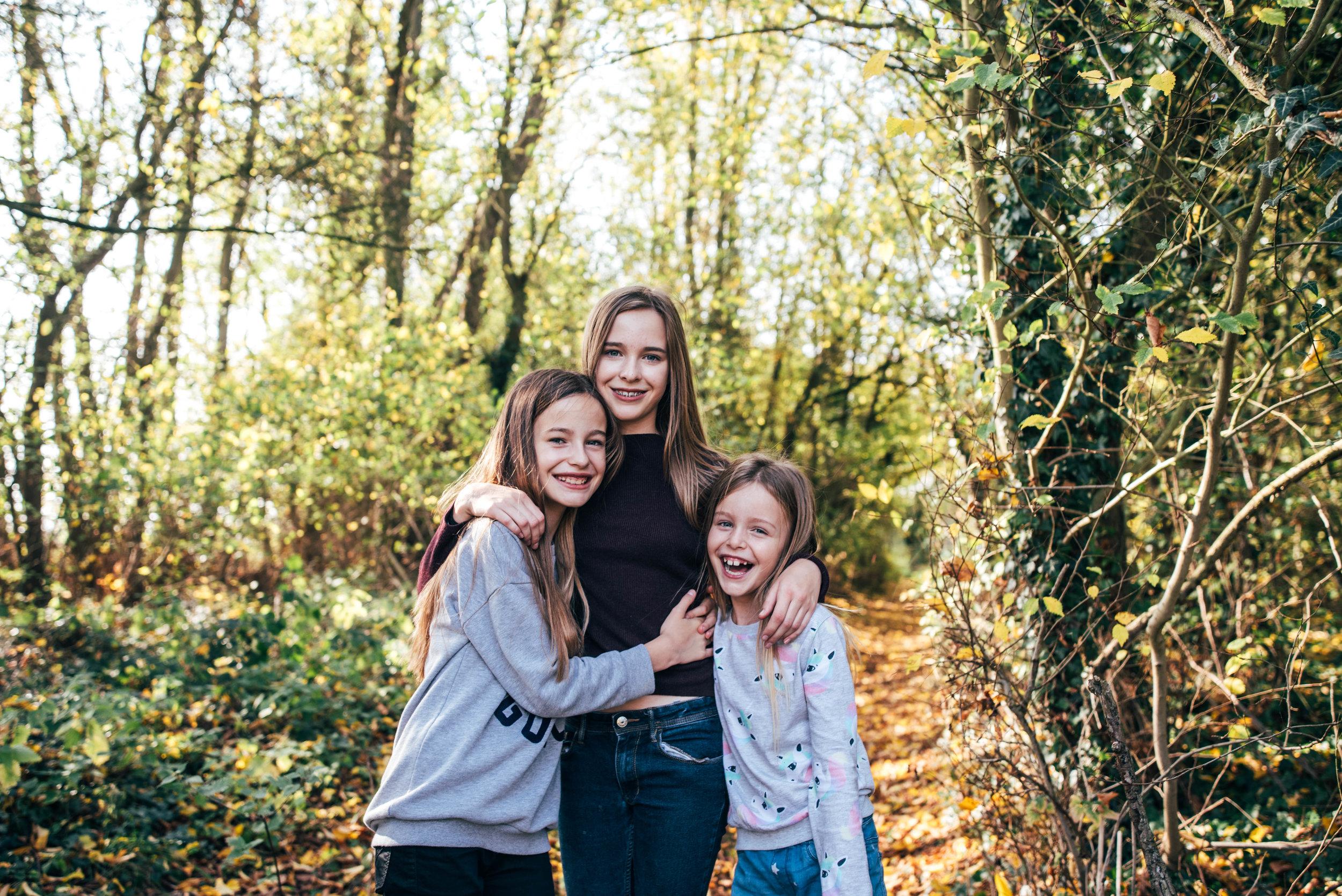 Three Sisters in Autumn Portrait Essex UK Documentary Wedding Photographer