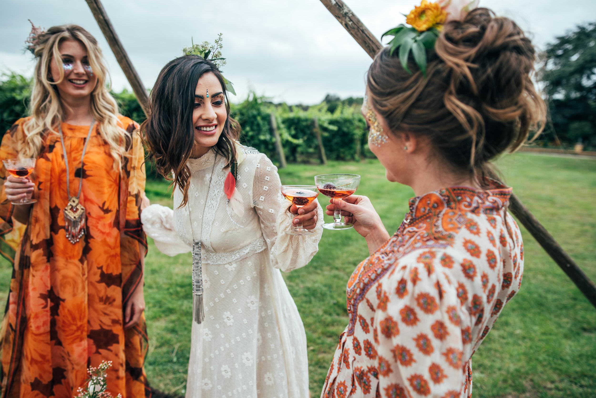 Bohemian Hen Party Celebration at The Railway Barn Essex Documentary Wedding Photographer