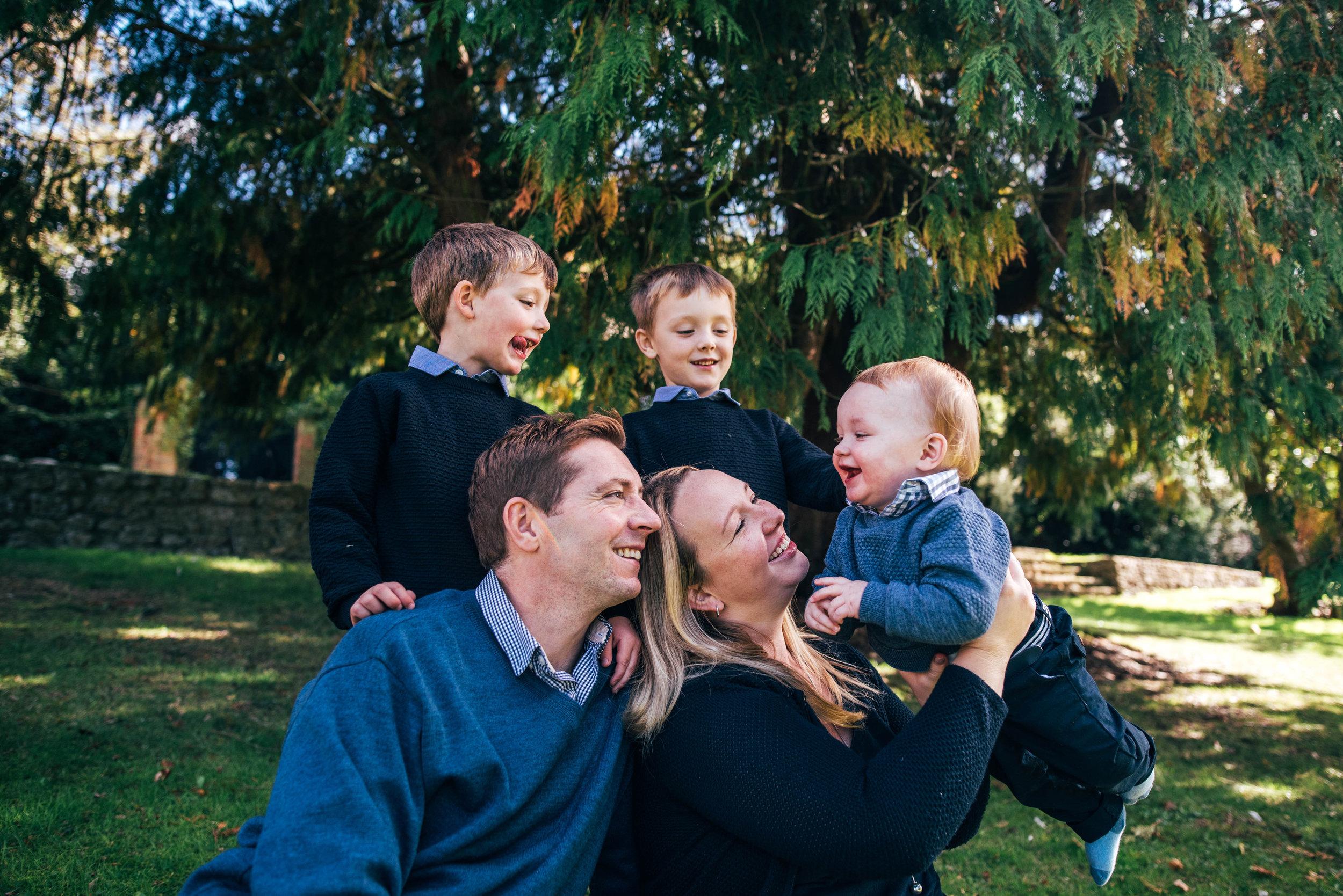 Family in garden Essex Documentary Portrait Photographer