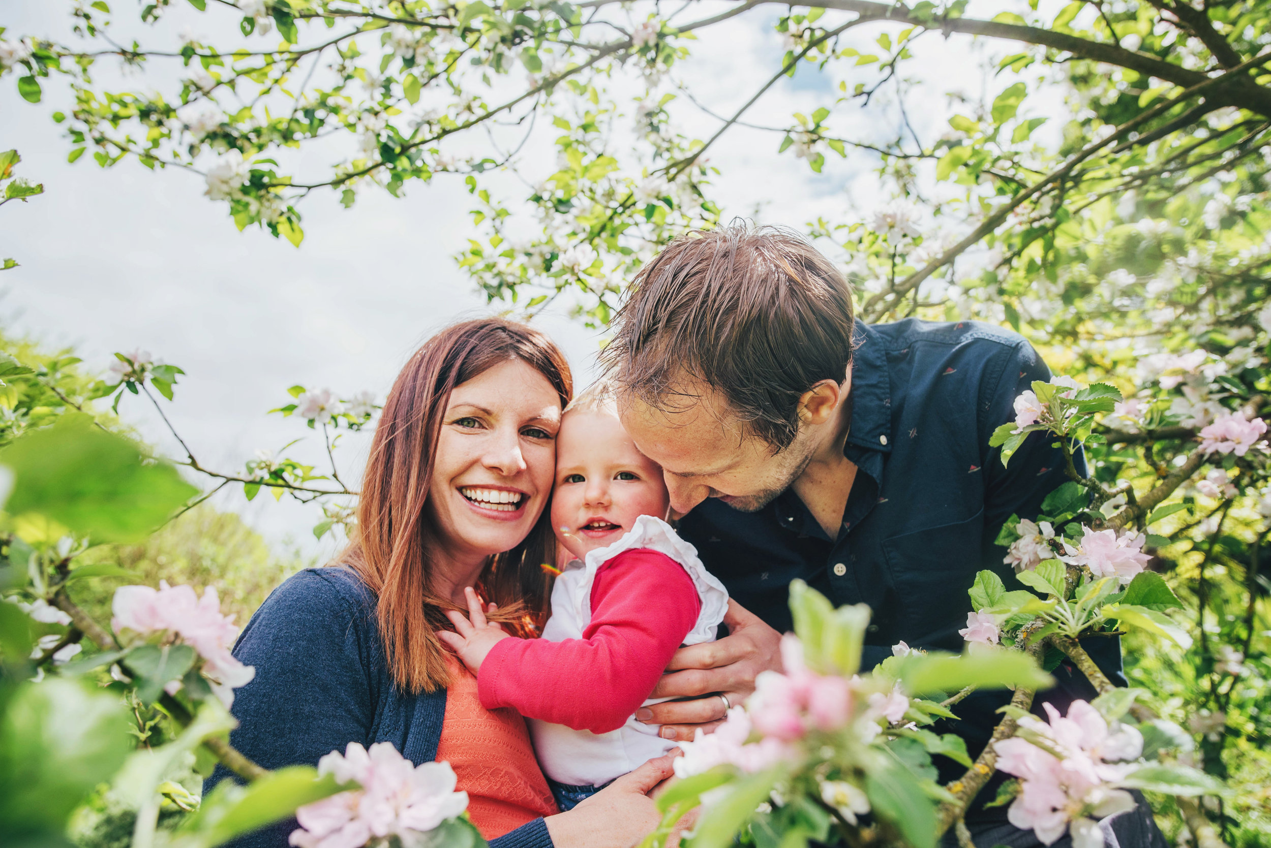 mum dad and baby girl in blossom tree Essex documentary portrait photographer