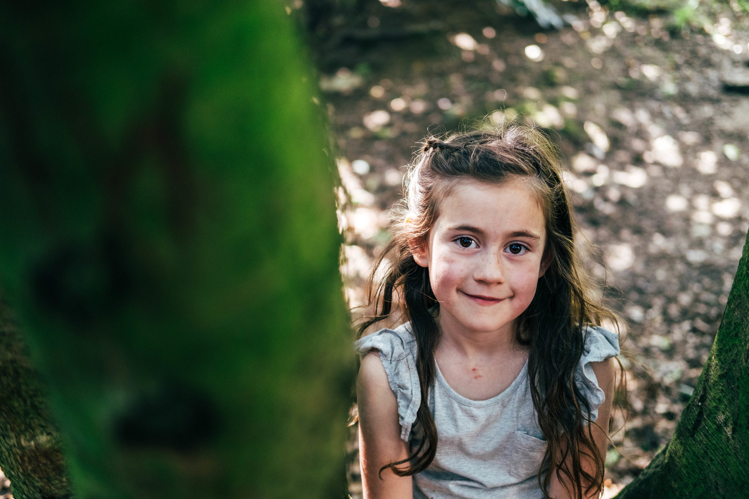 Little girl in tree in park in Spring Essex & London Documentary Family Photographer Lifestyle