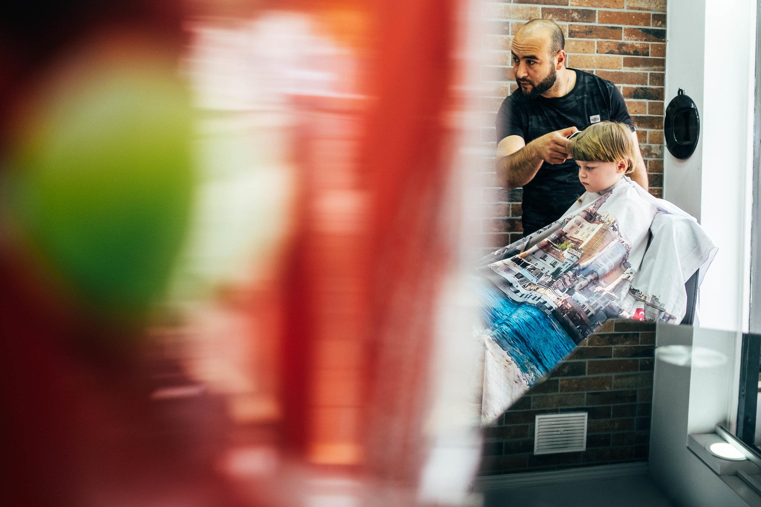 Little boy has haircut Essex Family and Wedding Documentary Photographer