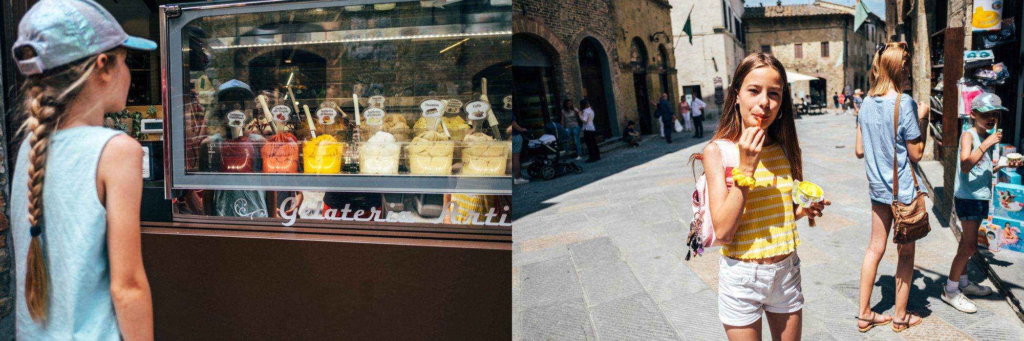Girls eating ice cream at St Gimignano Tuscany Essex Documentary Travel Wedding Photographer