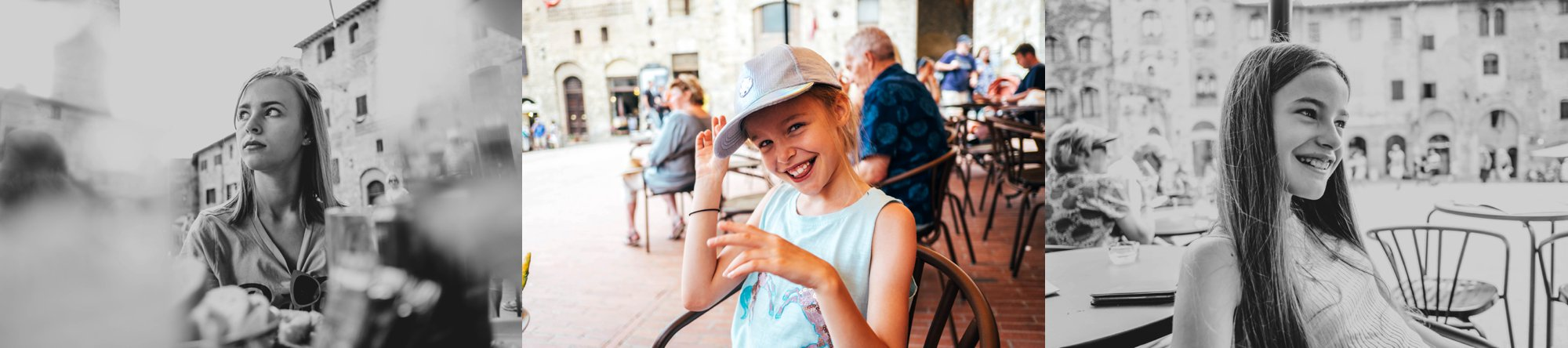 Girls in square in St Gimignano Tuscany Essex Documentary Wedding Travel Photographer