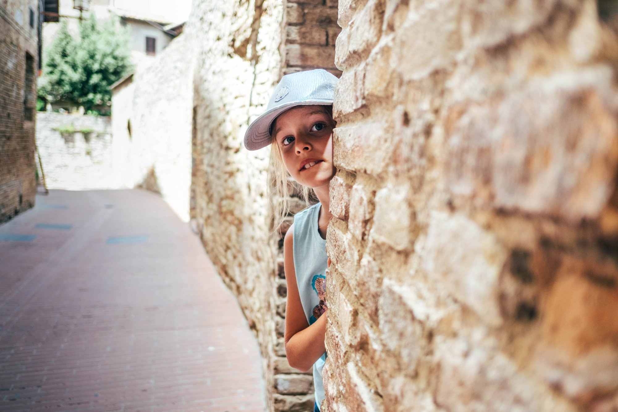 Little girl in alleyway St Gimignano Tuscany Essex Documentary Travel Wedding Photographer