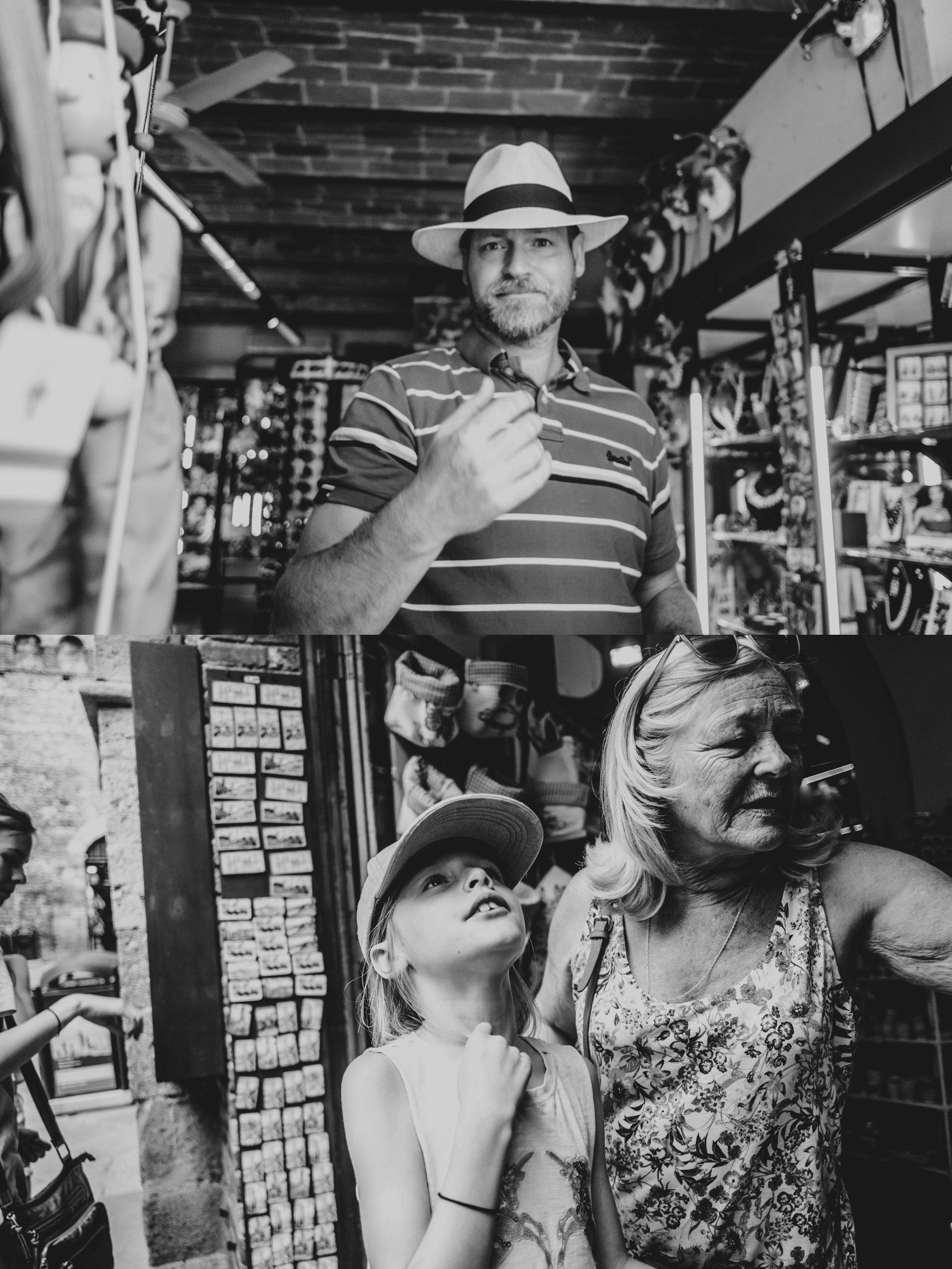 Shoppers in St Gimignano Tuscany Essex Documentary Wedding Travel Photographer